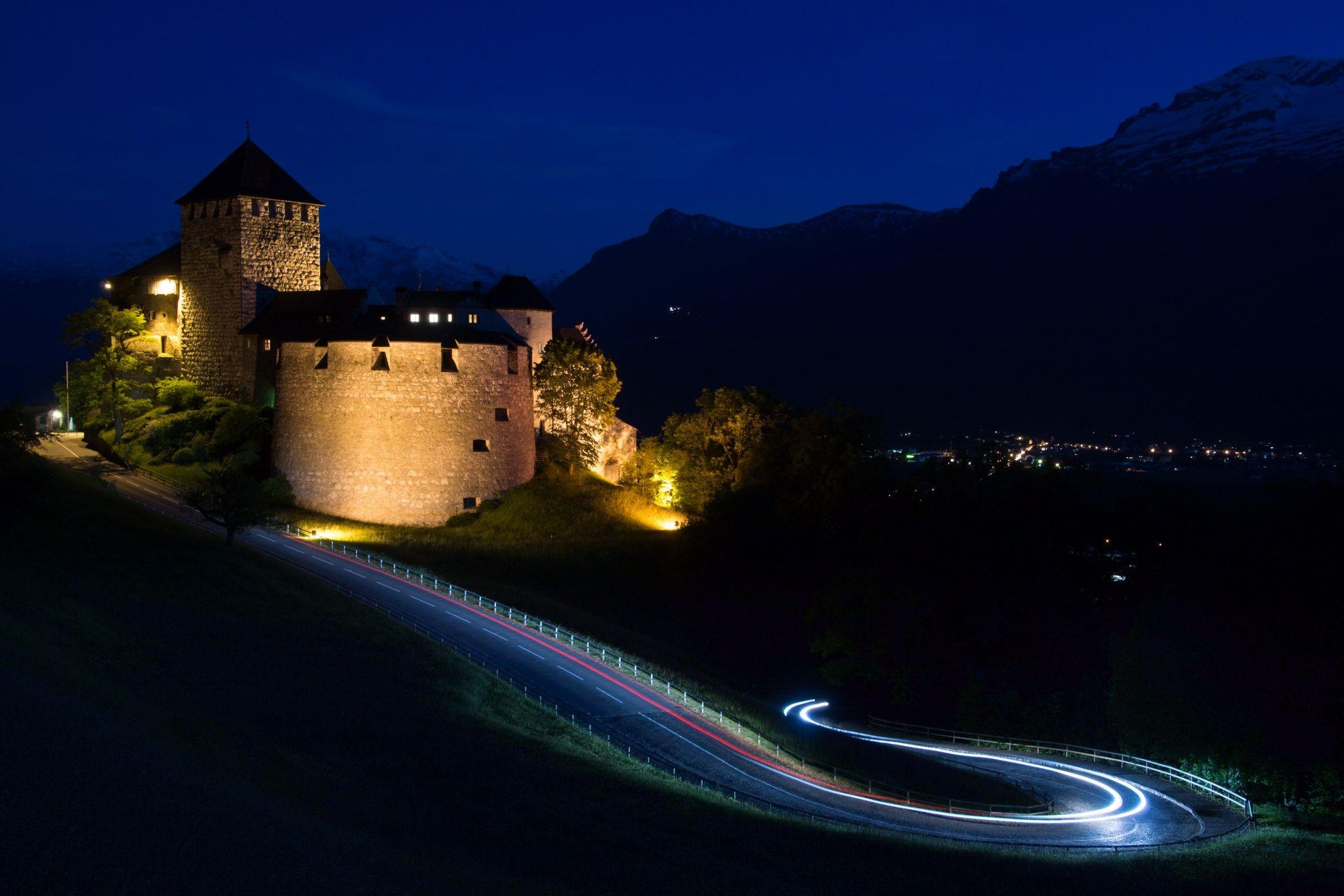 Schloss Vaduz at night, Liechtenstein