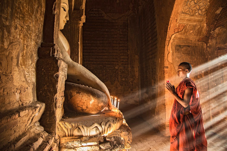 Monk in an old pagoda in Bagan, Myanmar