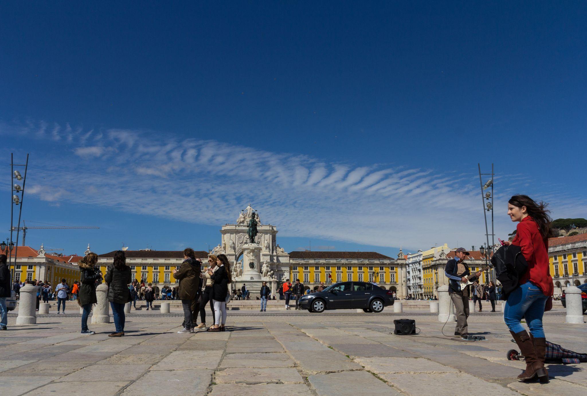 Praça do Comércio as seen from Cais das Colunas, Portugal