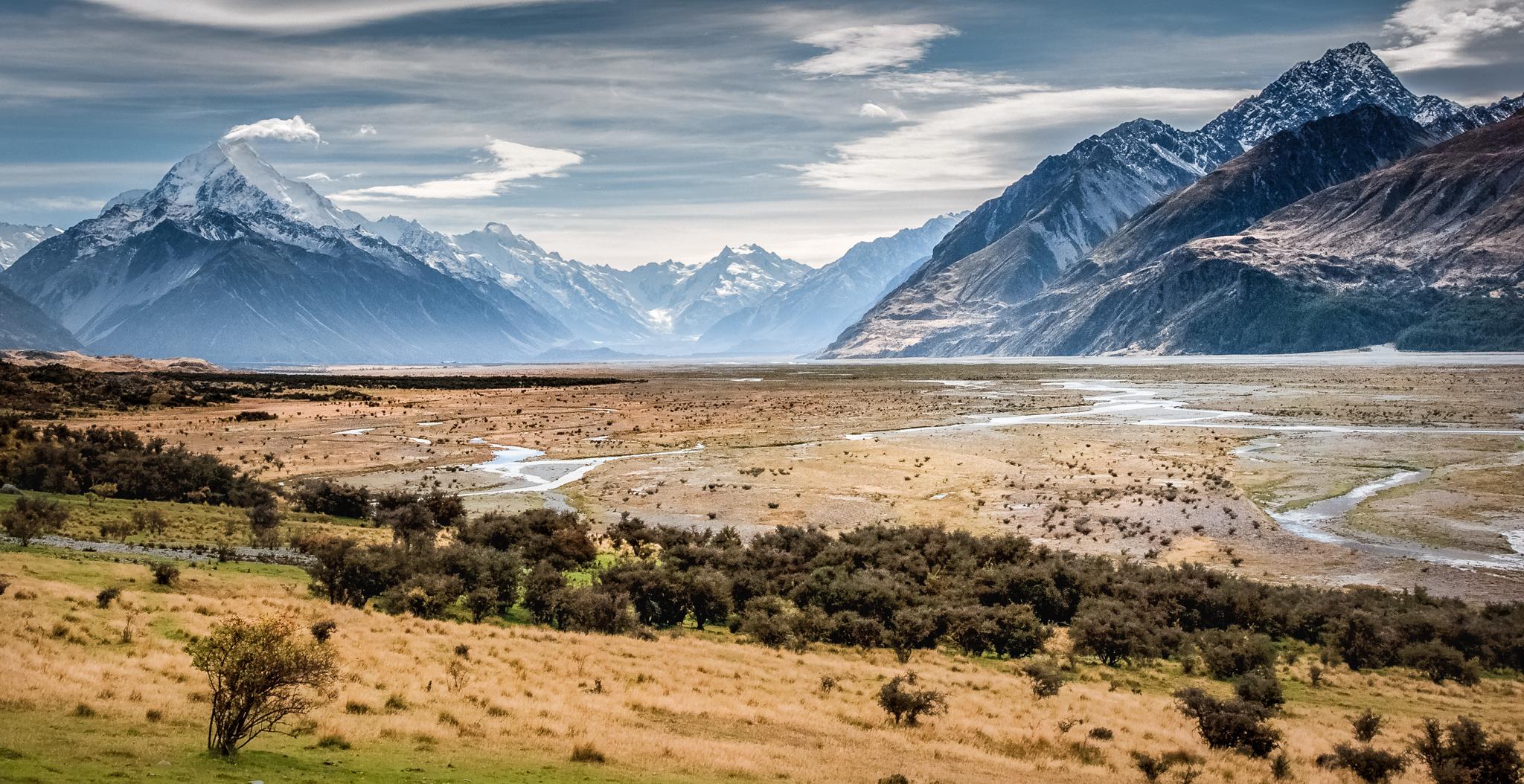 Tasman River flood plain, New Zealand