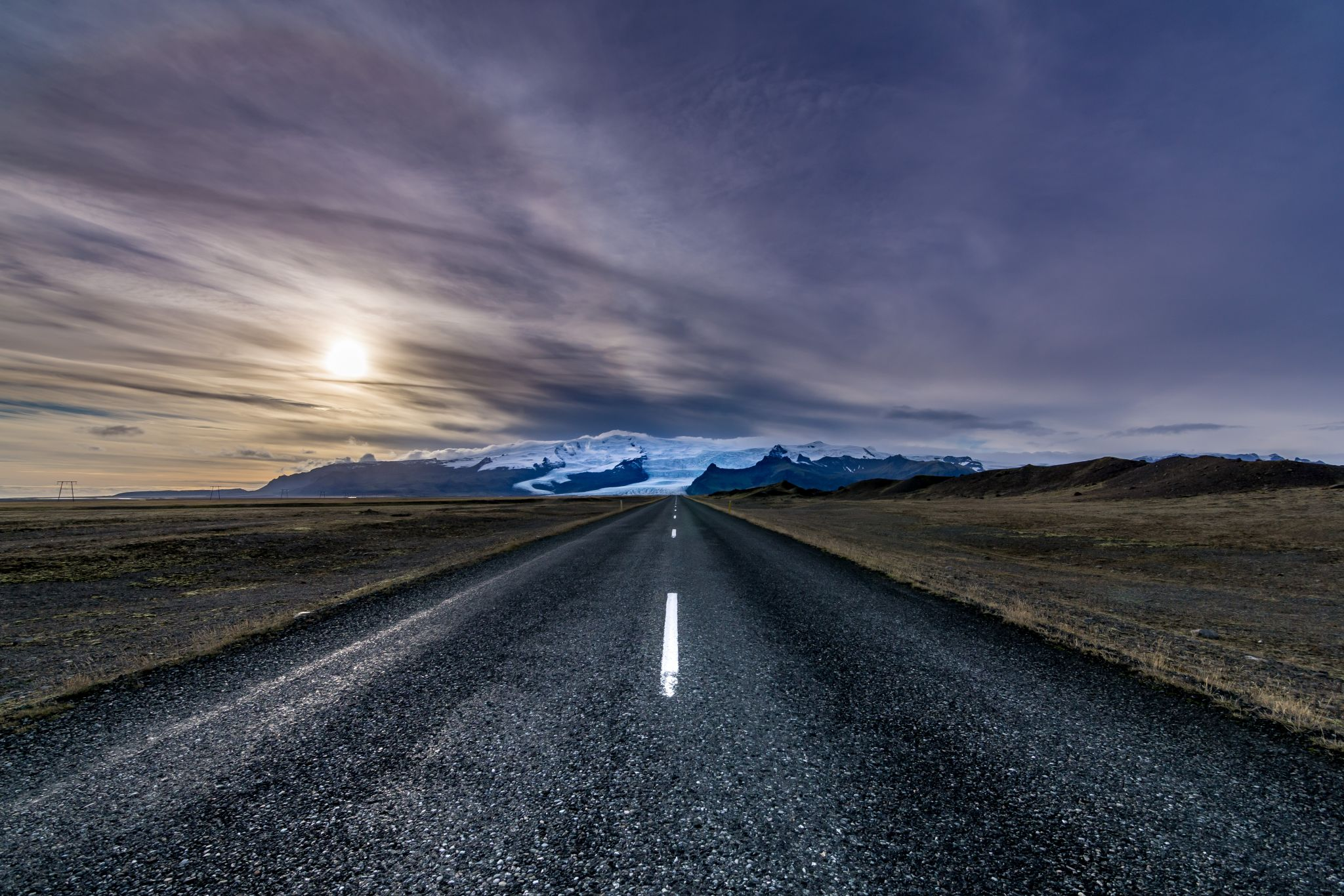 Road to the Vatnajökull, Glacier in Iceland, Iceland