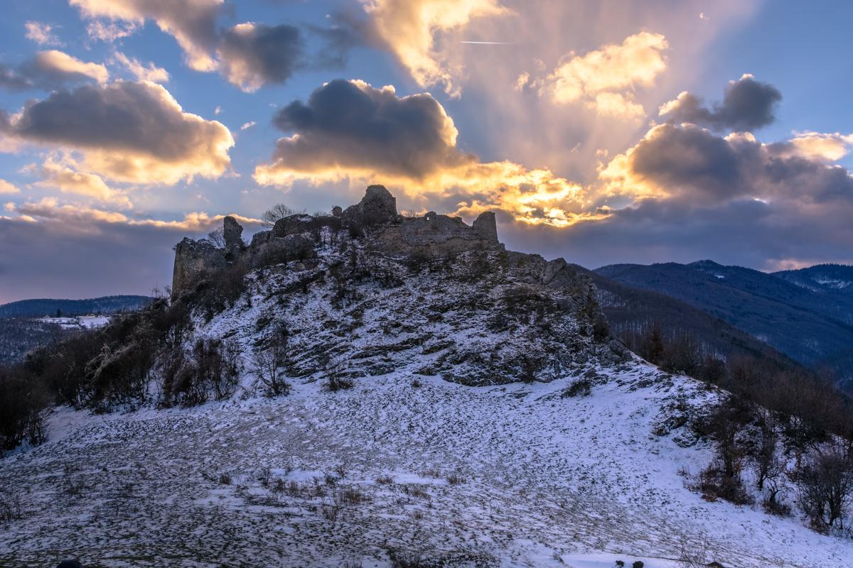 Ruins of a fortress near Liteni, Romania