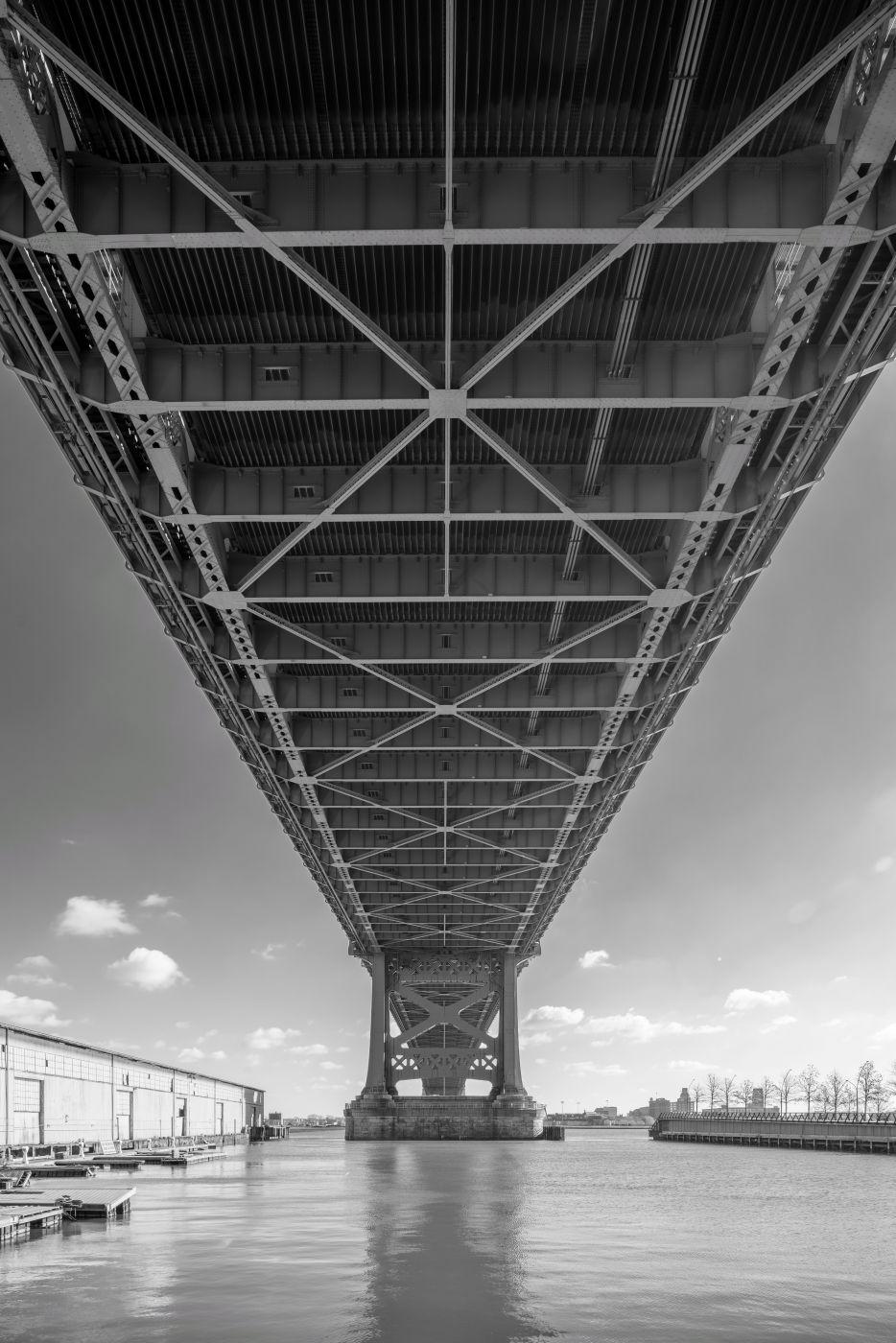 Under the Ben Franklin Bridge.  Philadelphia, PA, USA