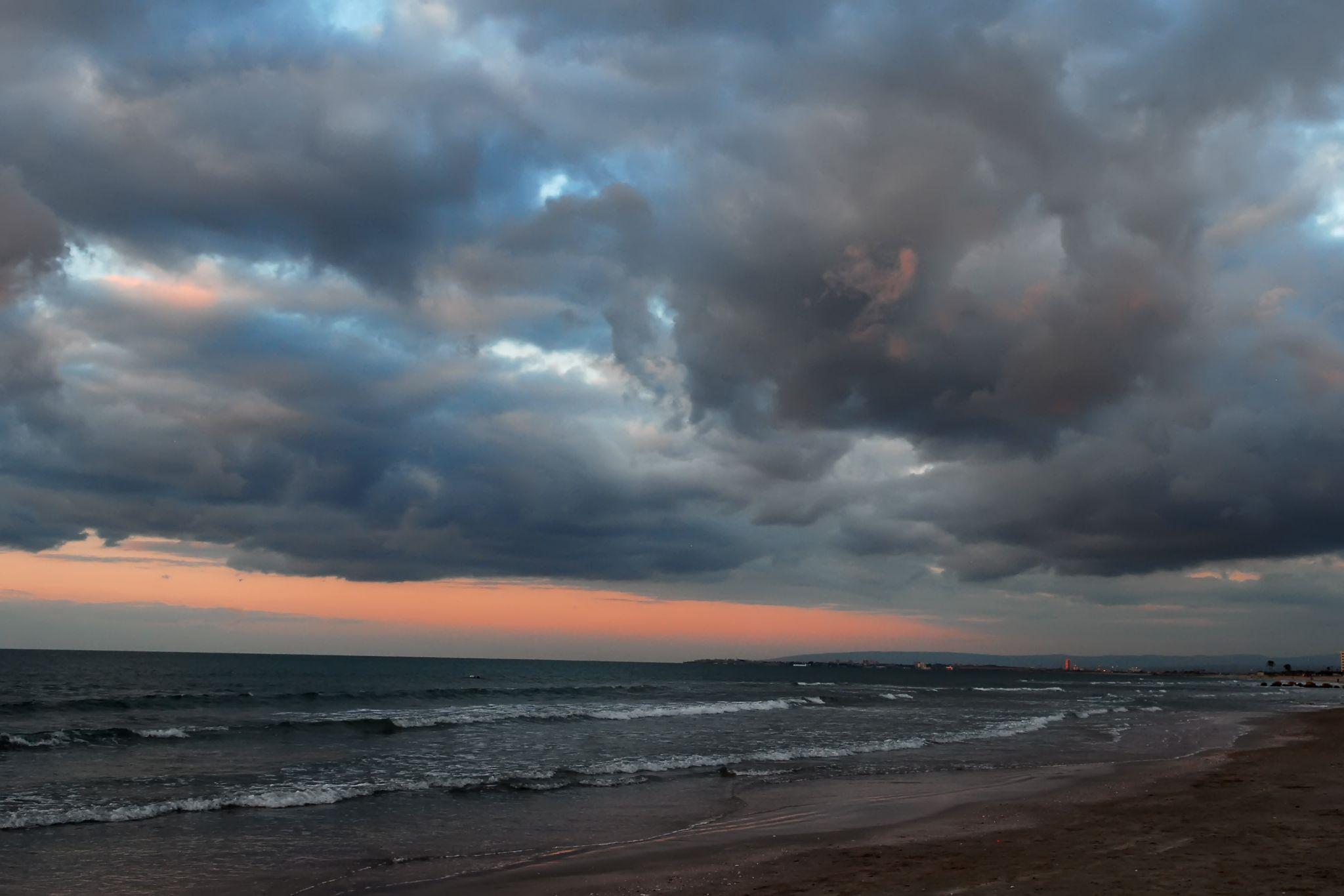 Winter evening in the Bay of Haifa (Kiryat Haim), Israel