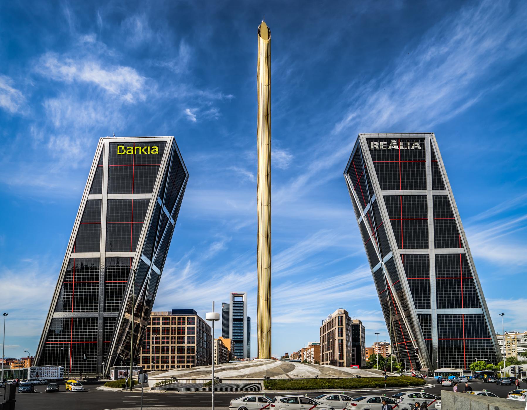 Torres KIO from Plaza de Castilla, Spain