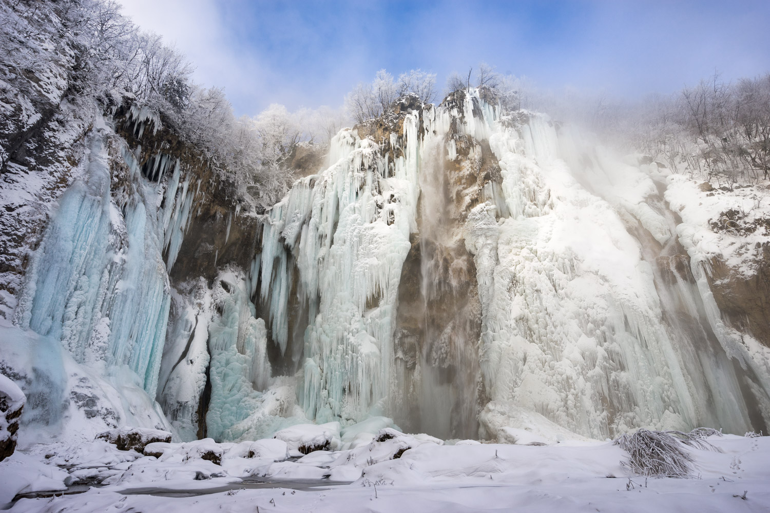 Frozen Waterfall in Plitvice Lakes, Croatia