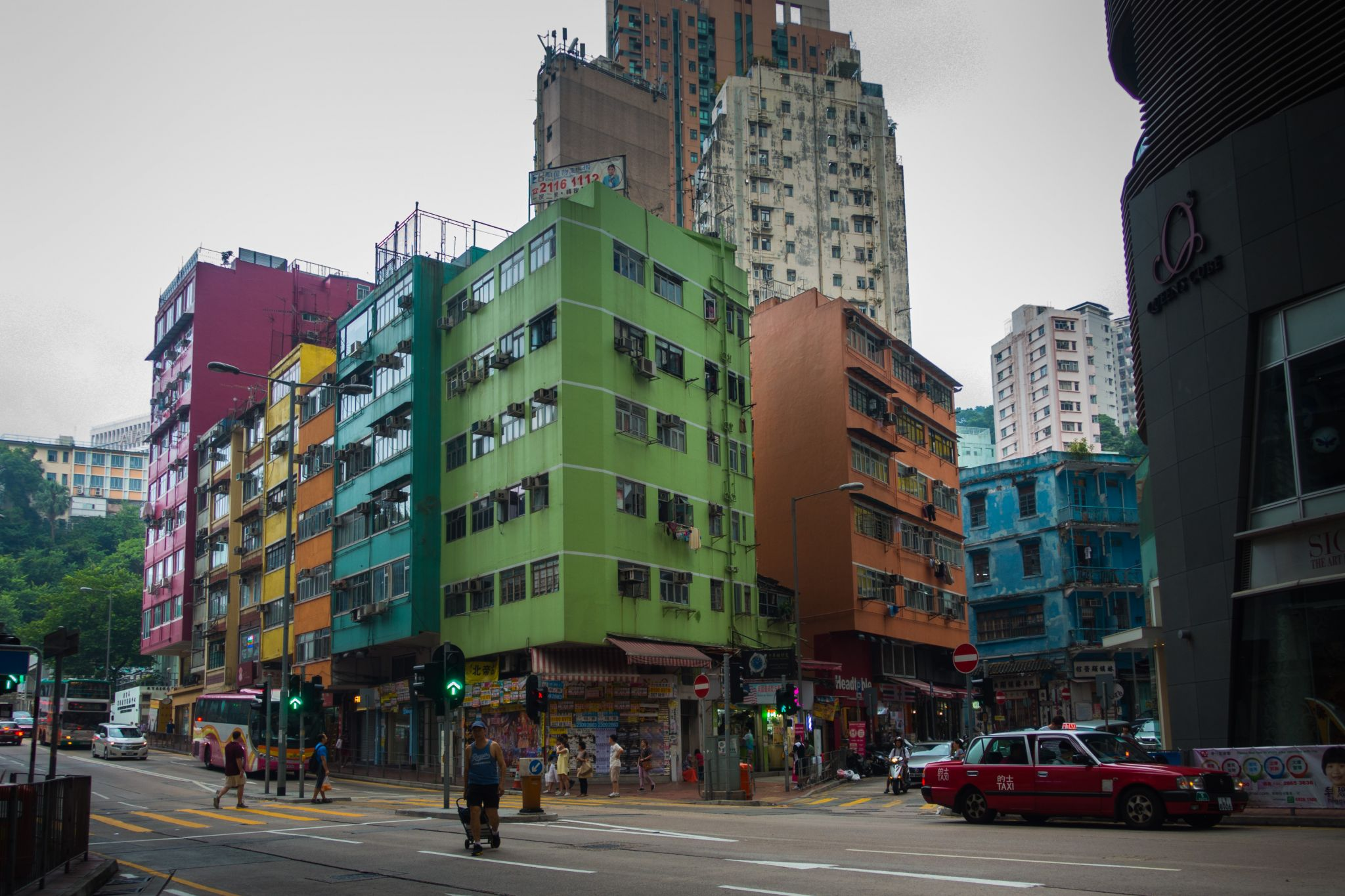 Blue House, and other colorful buildings, Hong Kong