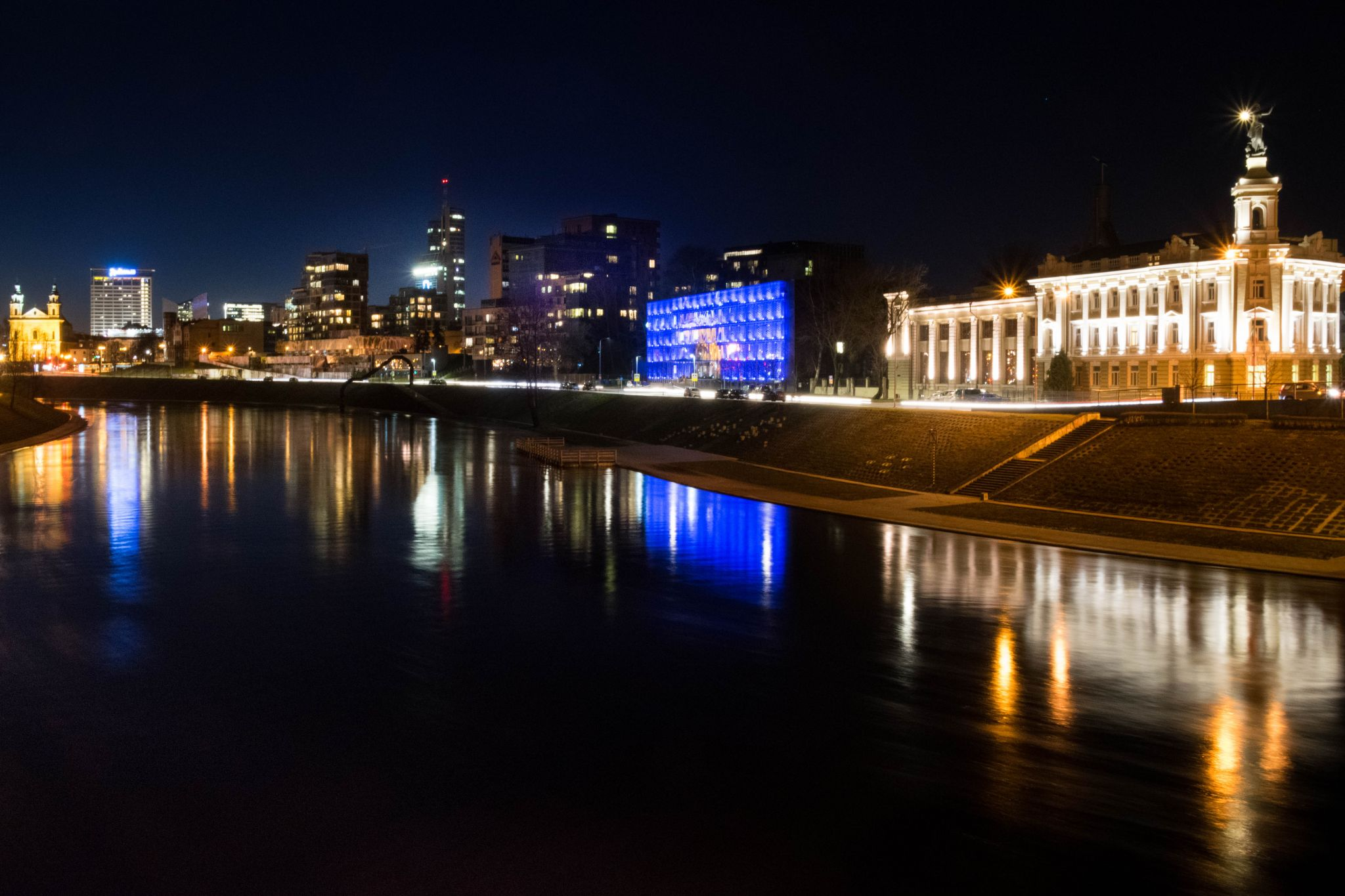 Neris River and the lights of the business district, Vilnius, Lithuania