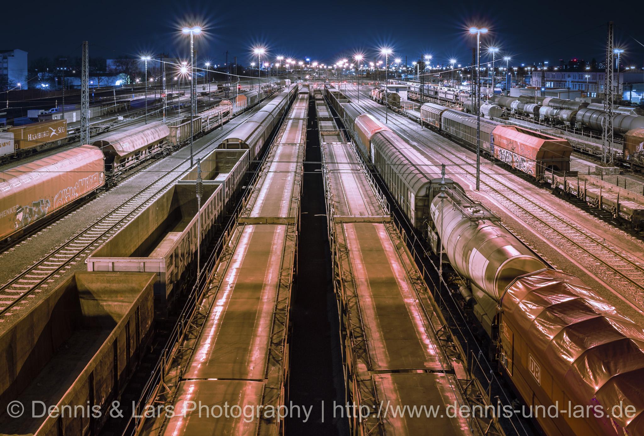 On the bridge at logistic train station Mannheim, Germany