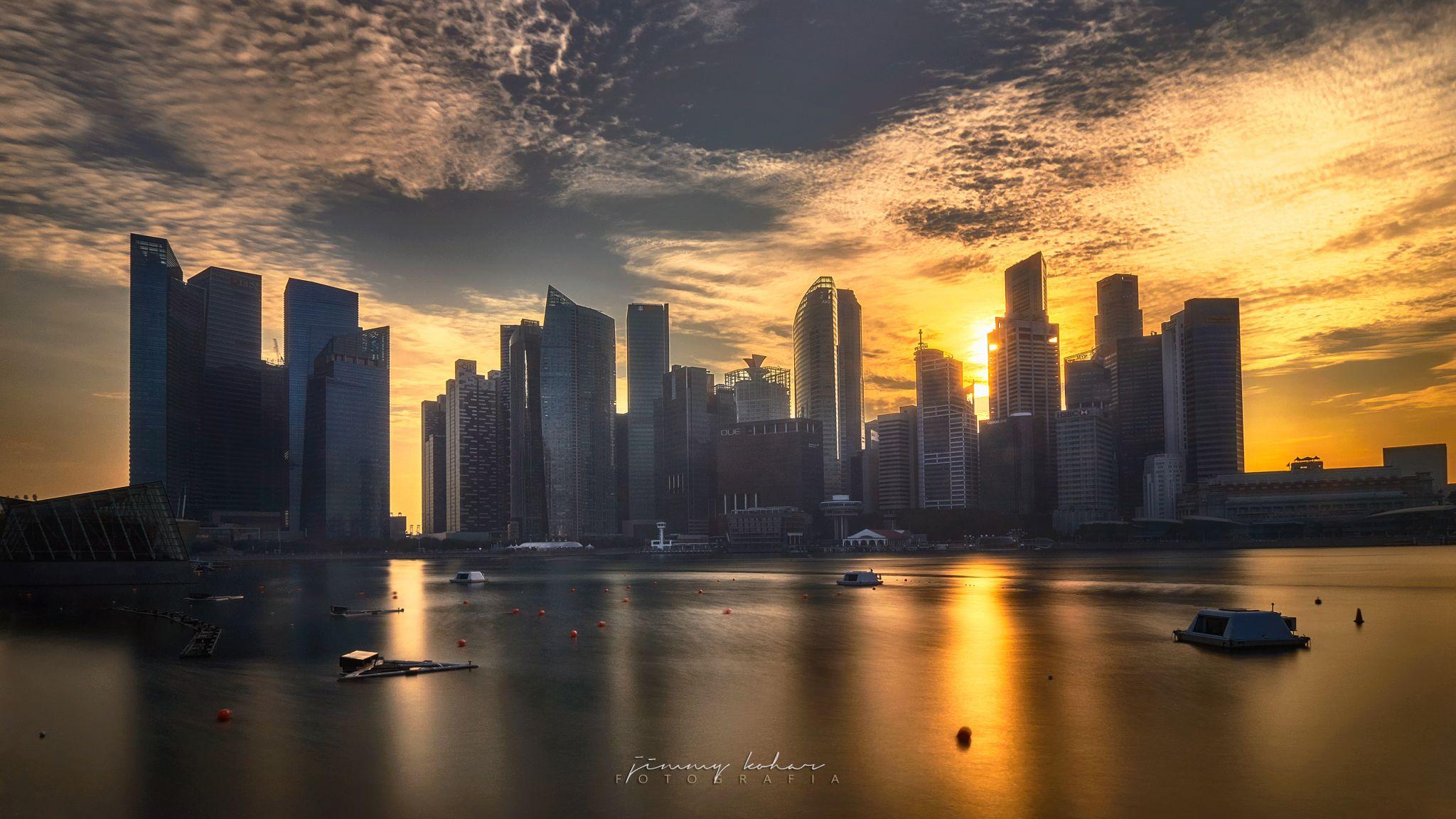 Singapore Sunset Skyline from Louis Vuitton Island Maison, Singapore