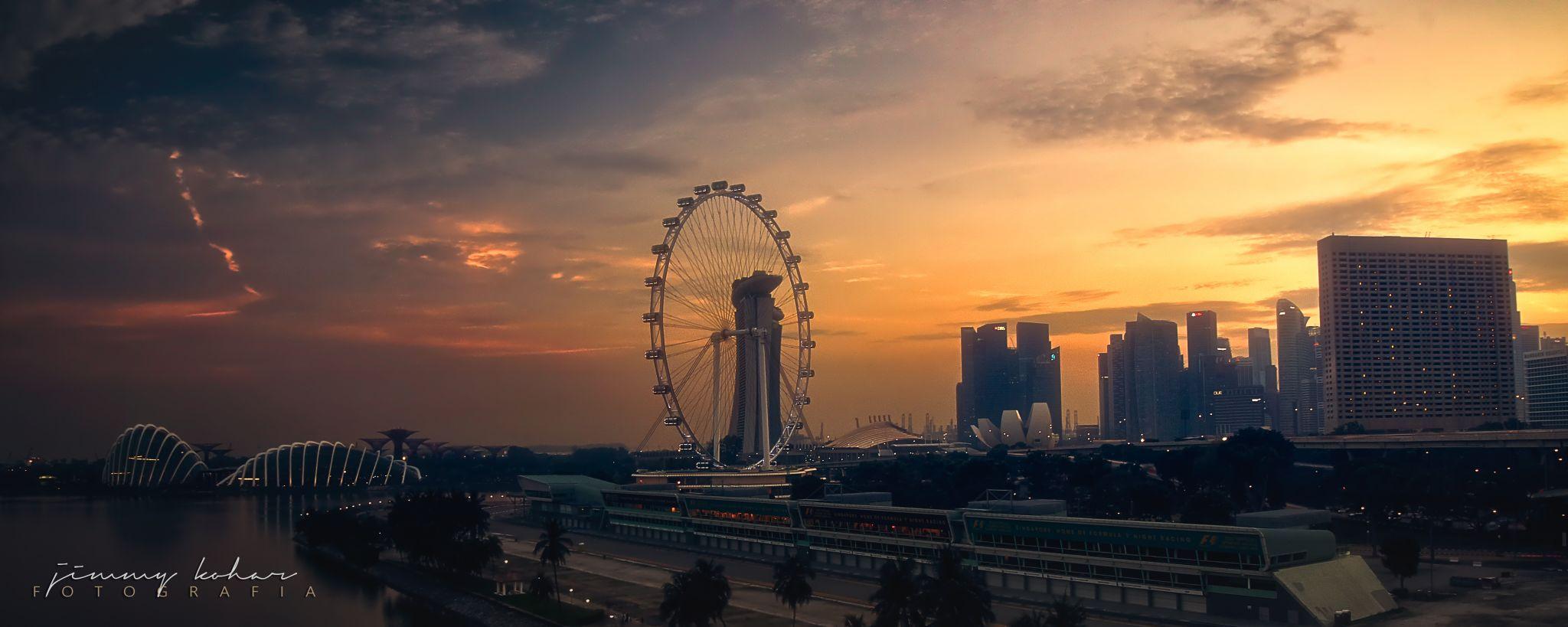 Skyline Sunset from the ECP Bridge, Marina Bay, Singapore