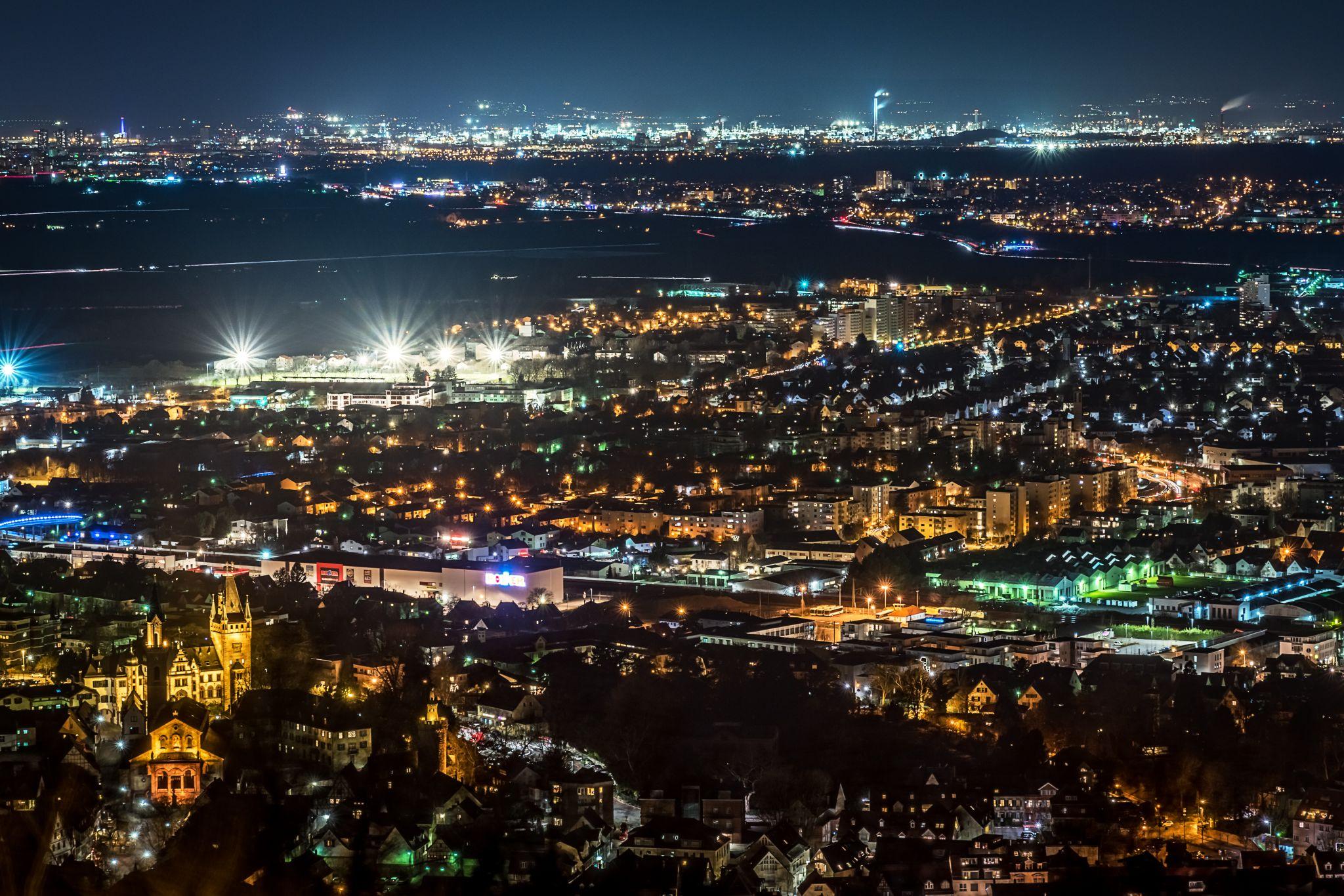 Weinheim city from Wachenburg, Germany