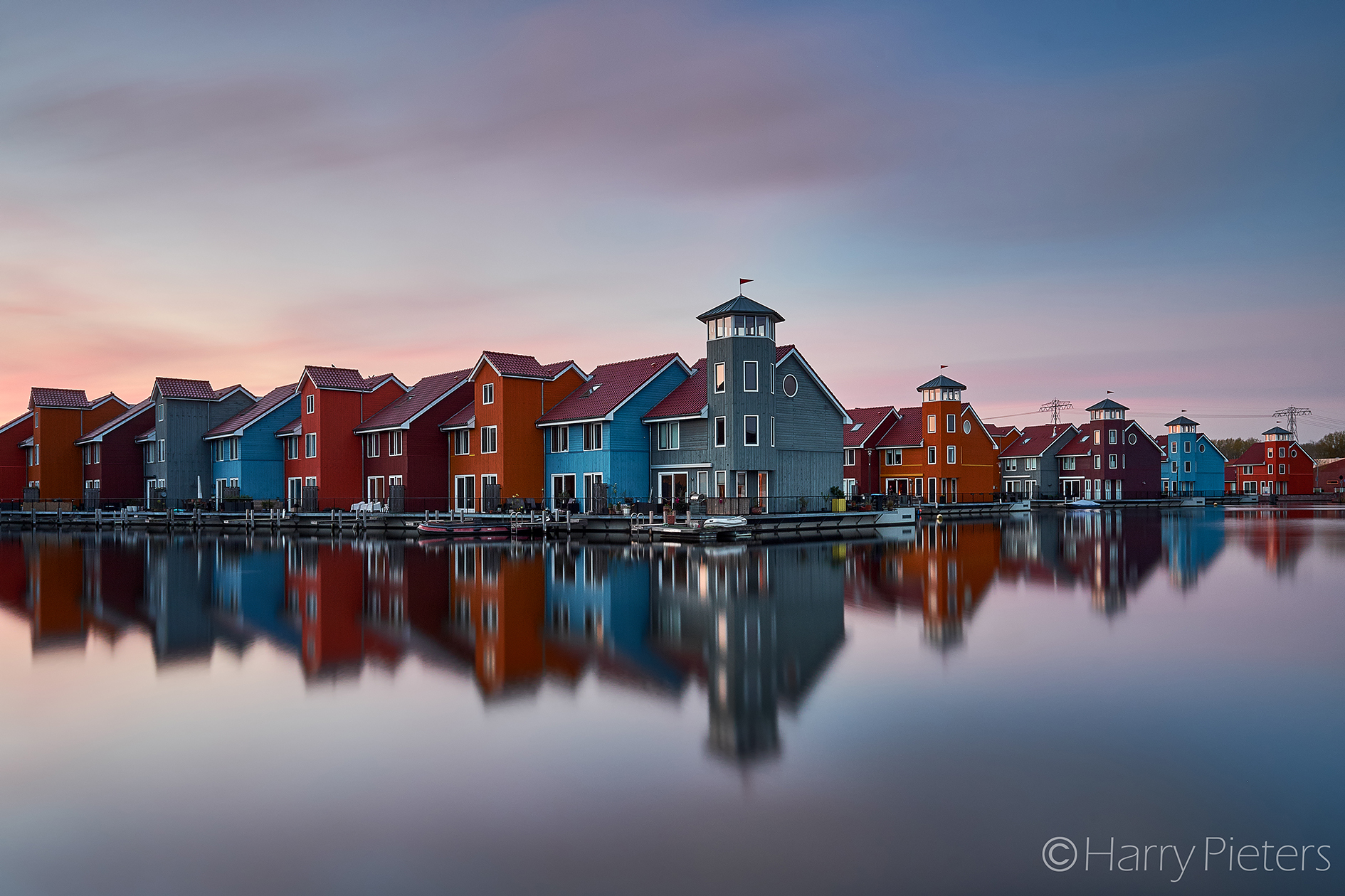 Colourful houses at Reitdiephaven, Netherlands