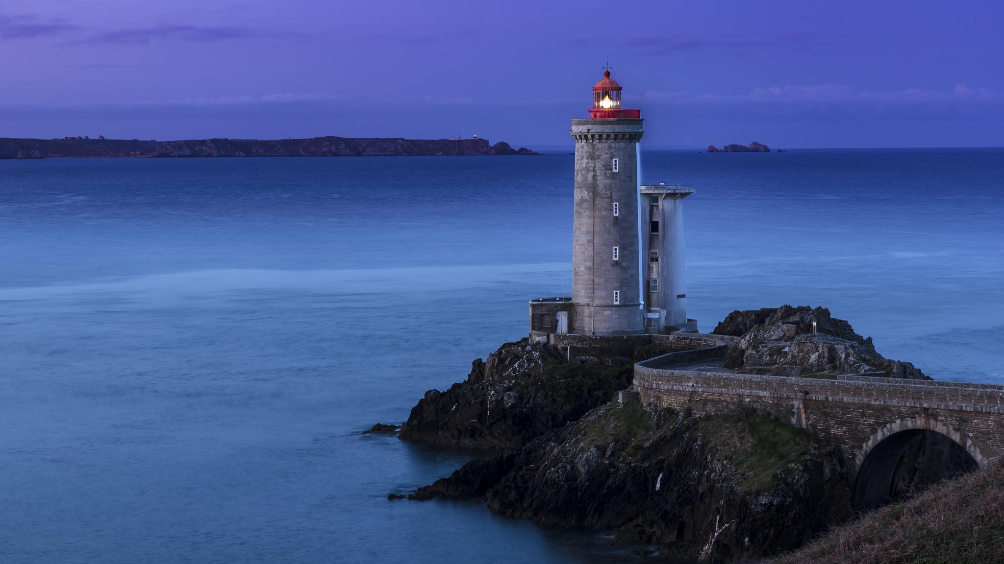 First glimmer of twilight at Phare du Petit Minou, France