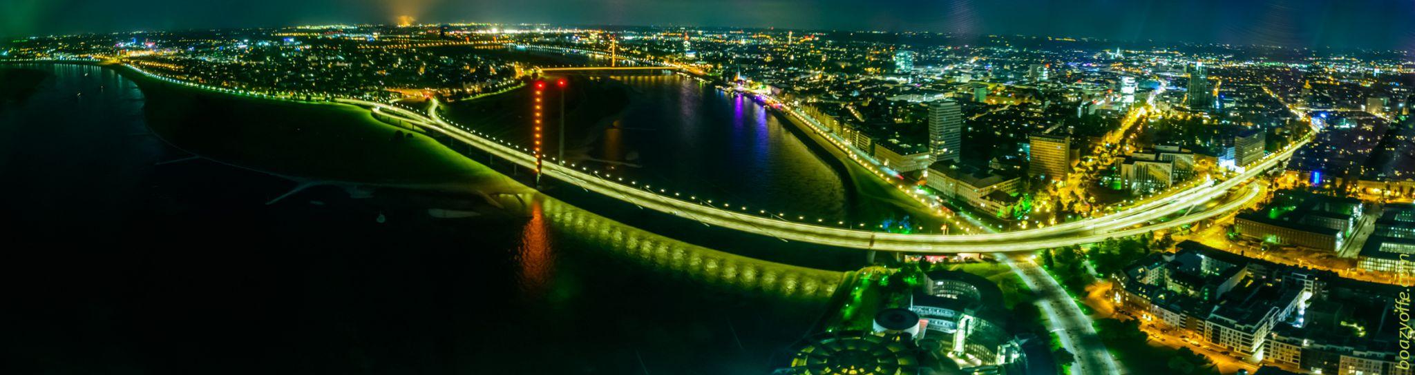Panoramic View of Rheinkniebrücke, Bridge on the Rhine, Germany
