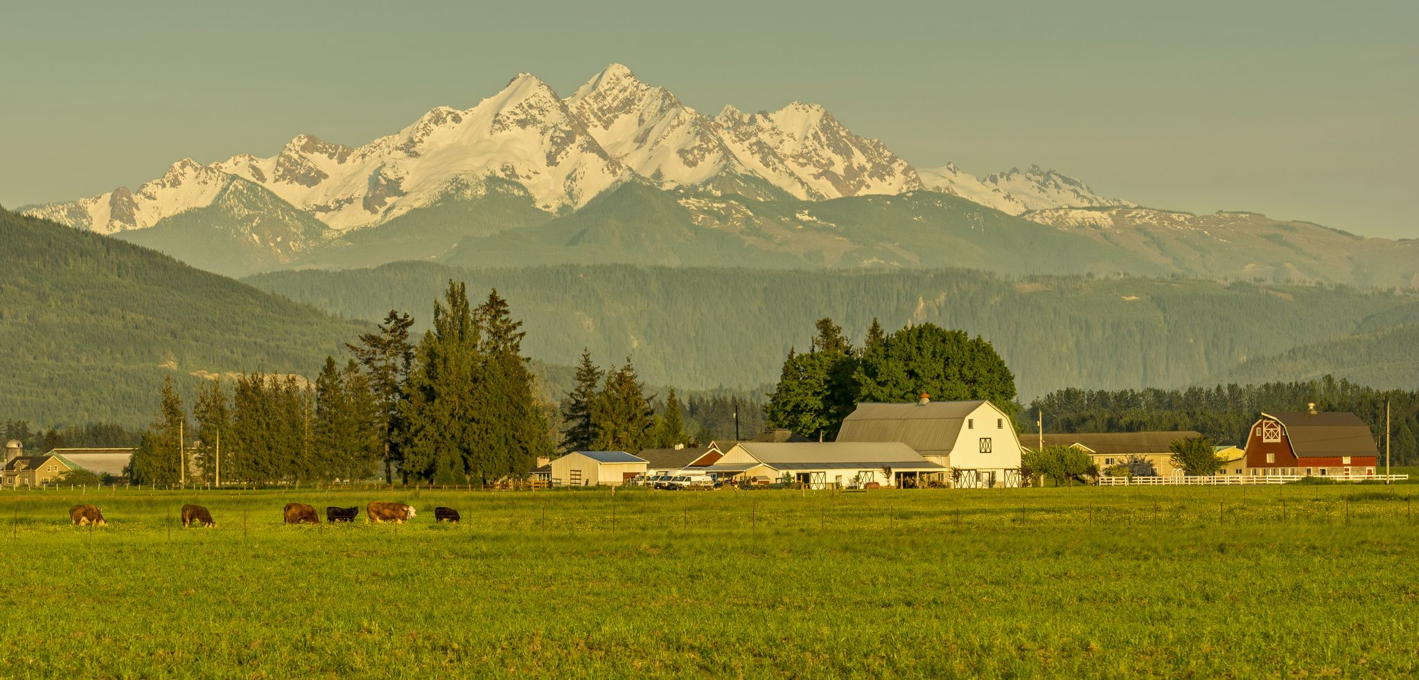 Thiel White Barn and the Twin Sisters, USA