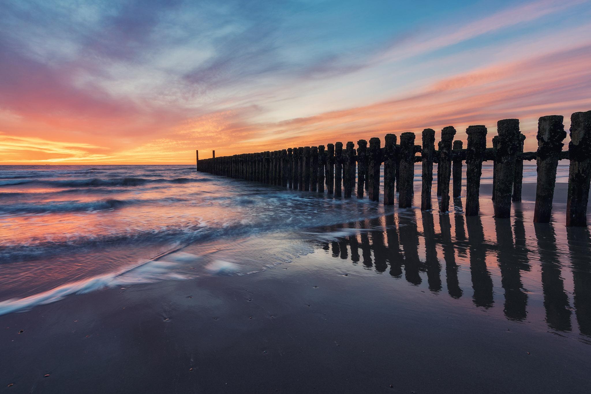 Breakwater at beach near Domburg, Netherlands