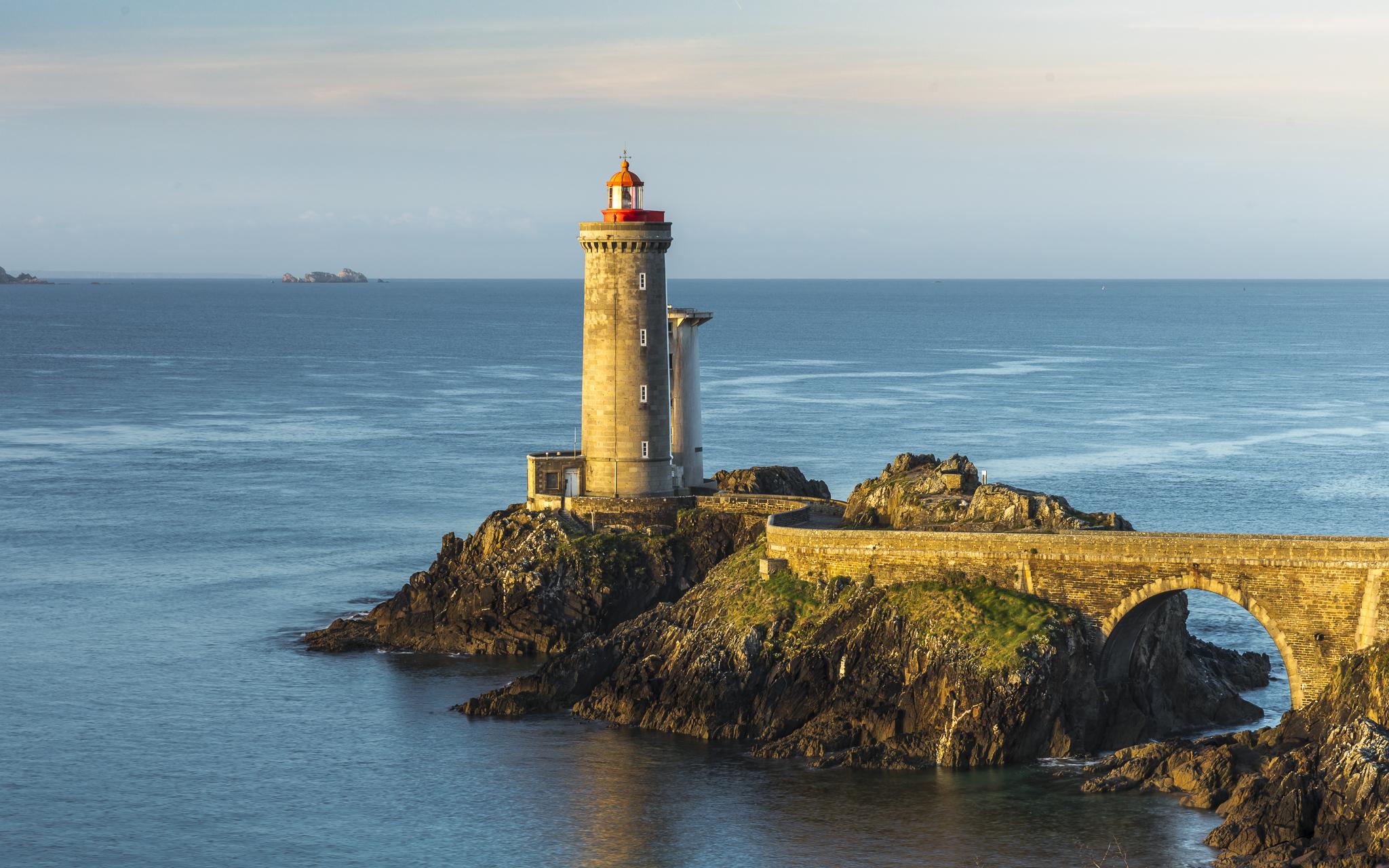 Phare du Petit Minou in the early morning sun, Finistère, France