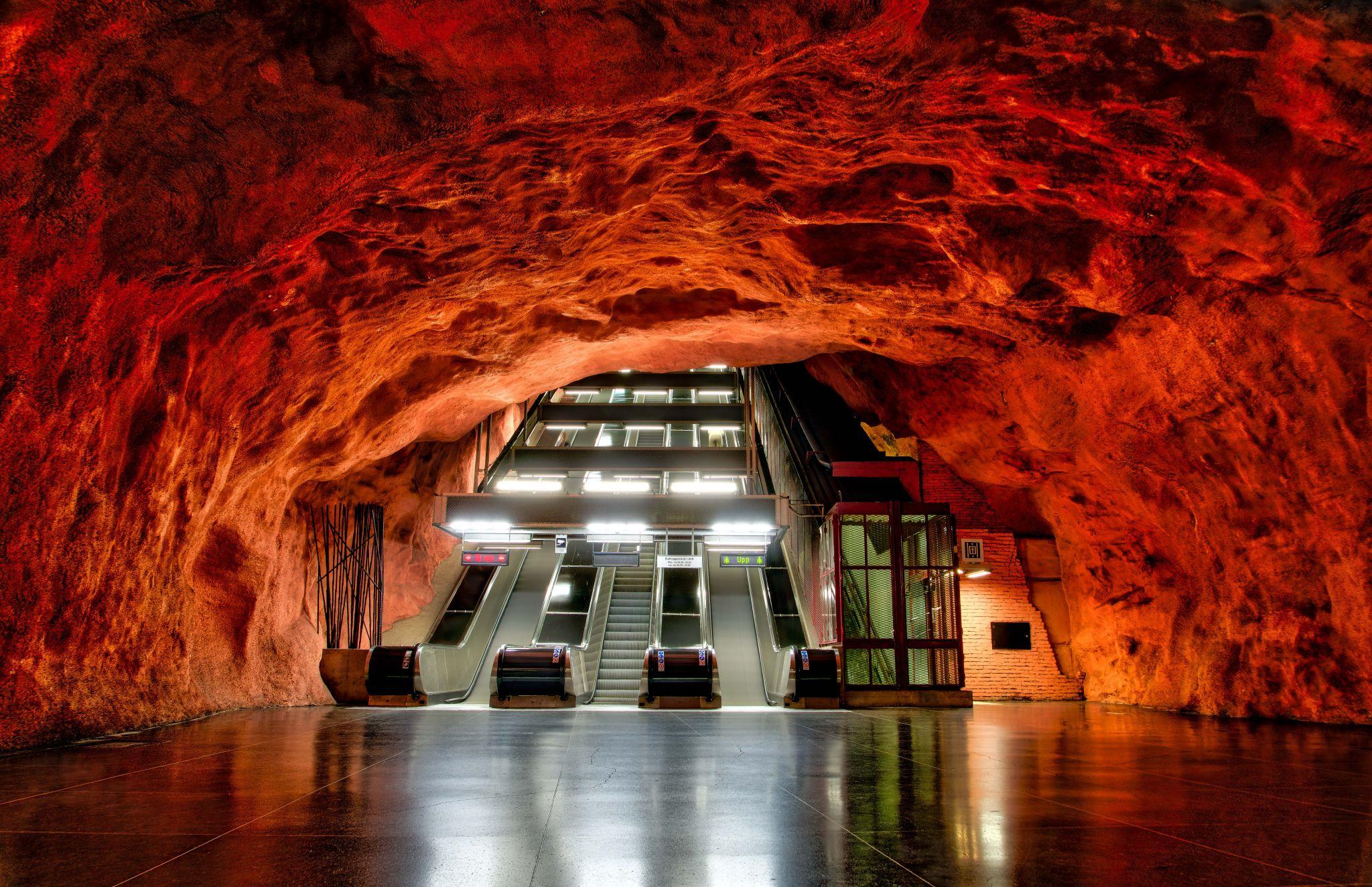 Radhuset T-Bana Subway Station in Stockholm, Sweden