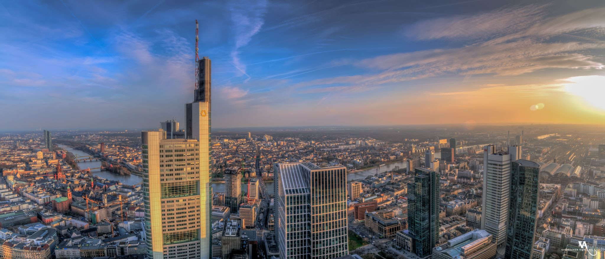 View of Mainhattan, Frankfurt from Main Tower, Germany