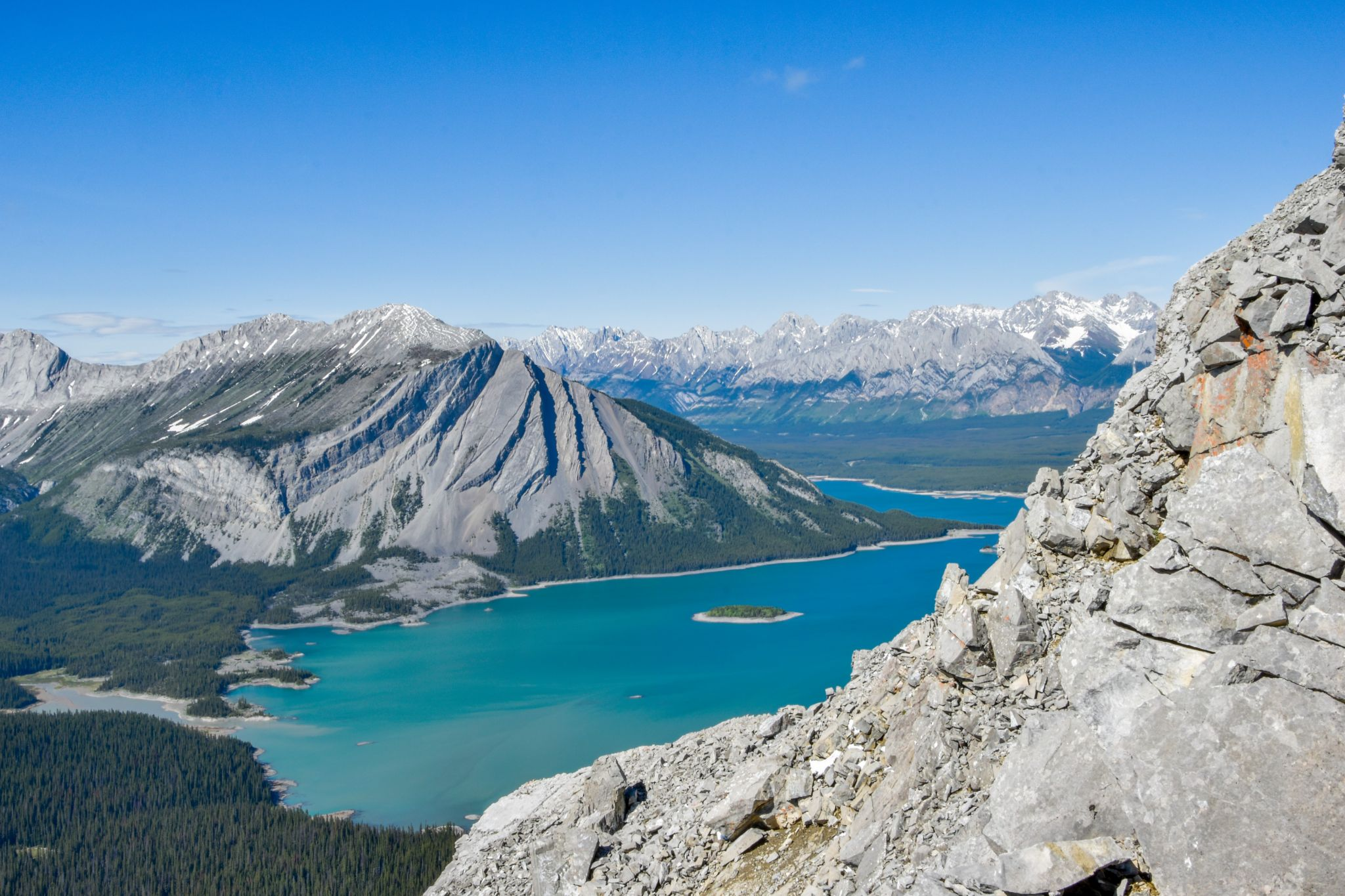 View of Upper Kananaskis Lake from Mount Sarrail, Canada