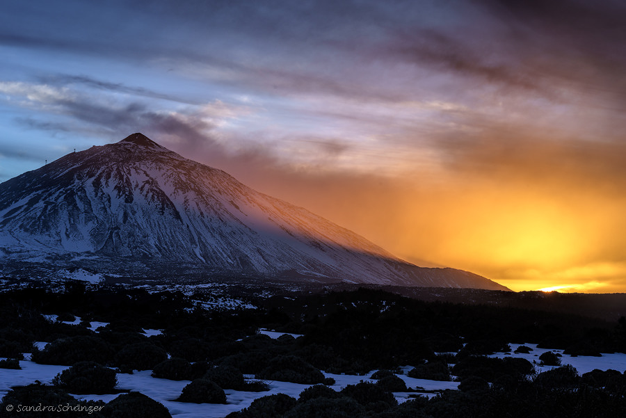 Sunset with Teide volcano, Spain