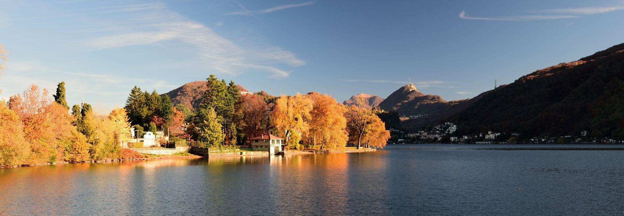 the lake of Lugano (CH) from Lavena and Porto Ceresio (IT), Italy