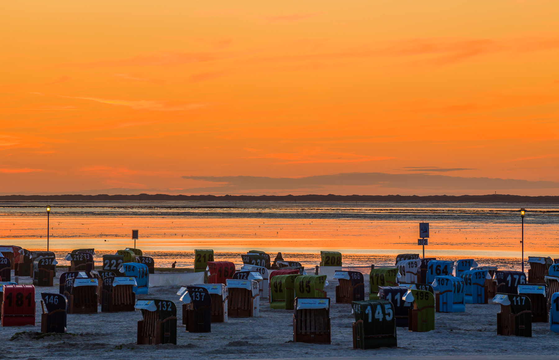Afterglow at Neuharlingersiel Beach, Germany