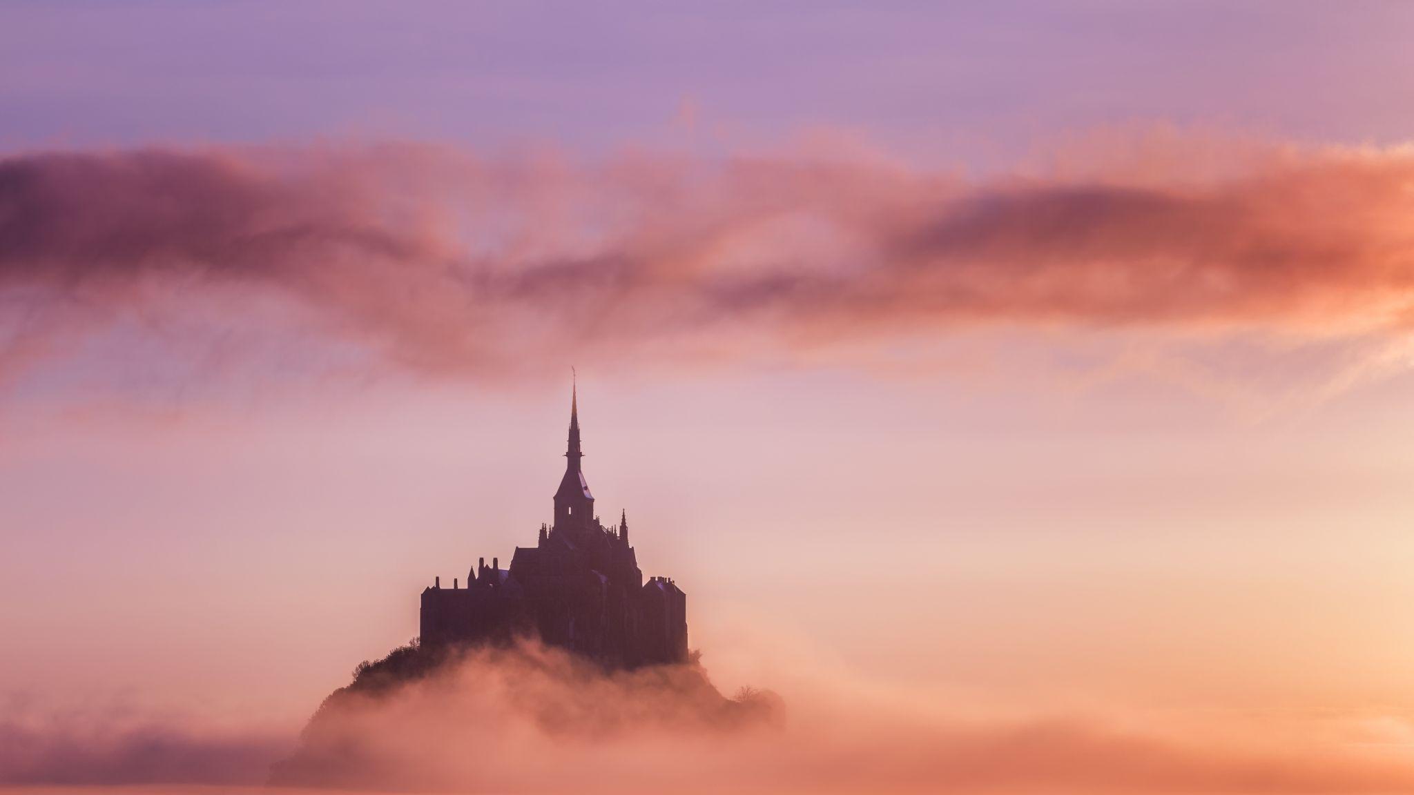 Mont Saint Michel at sunrise, France