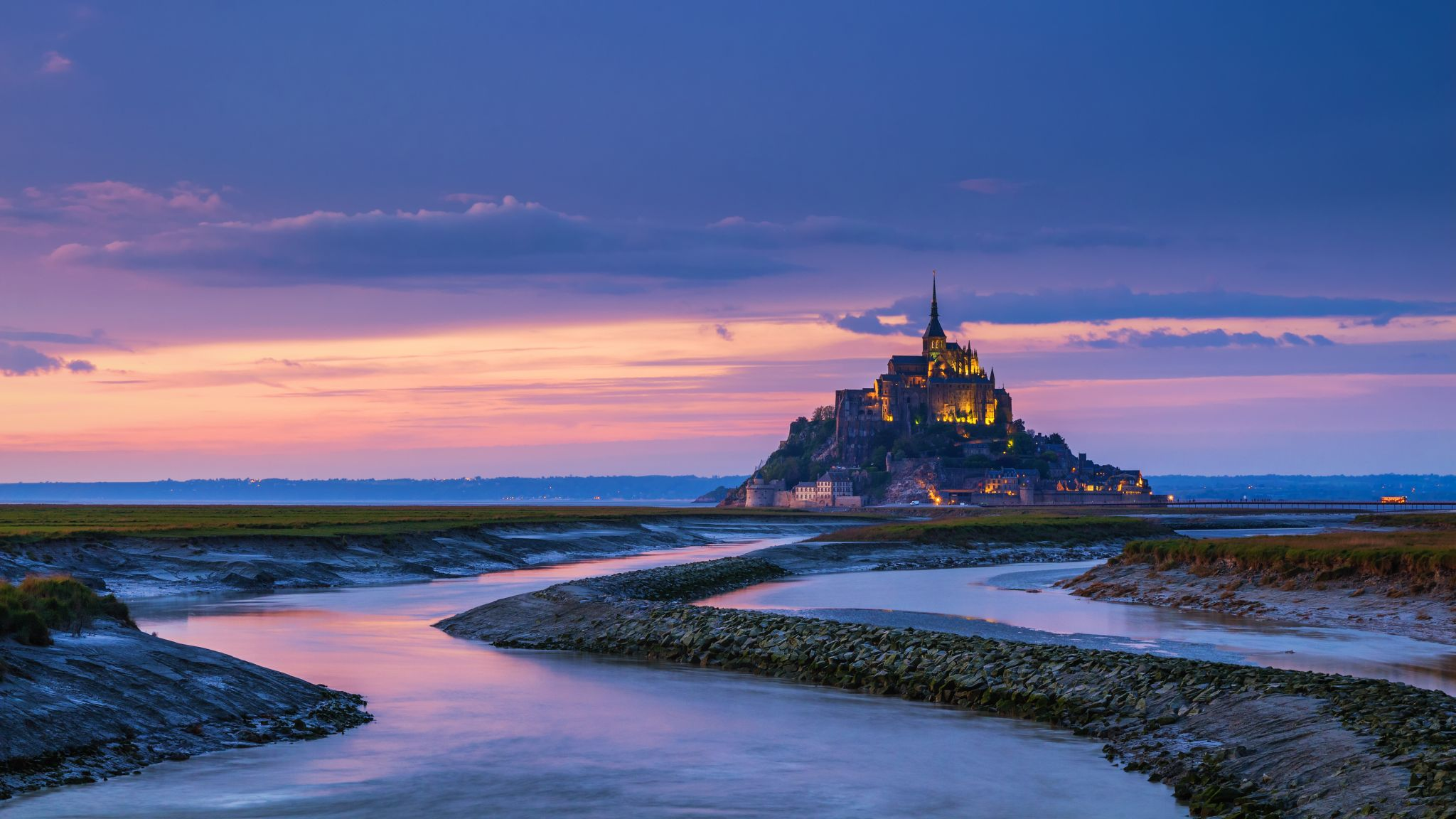 Mont Saint-Michel at sunset, France
