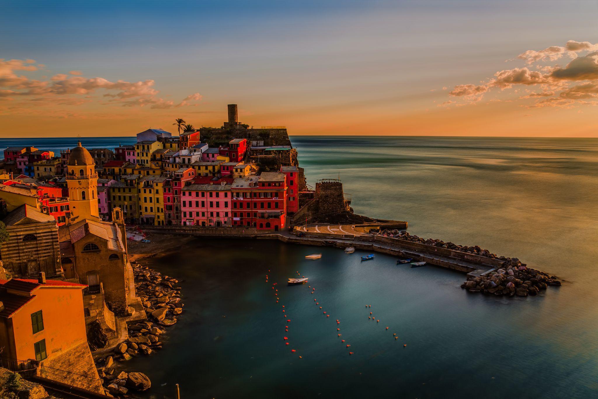 Sunset on Vernazza, Italy