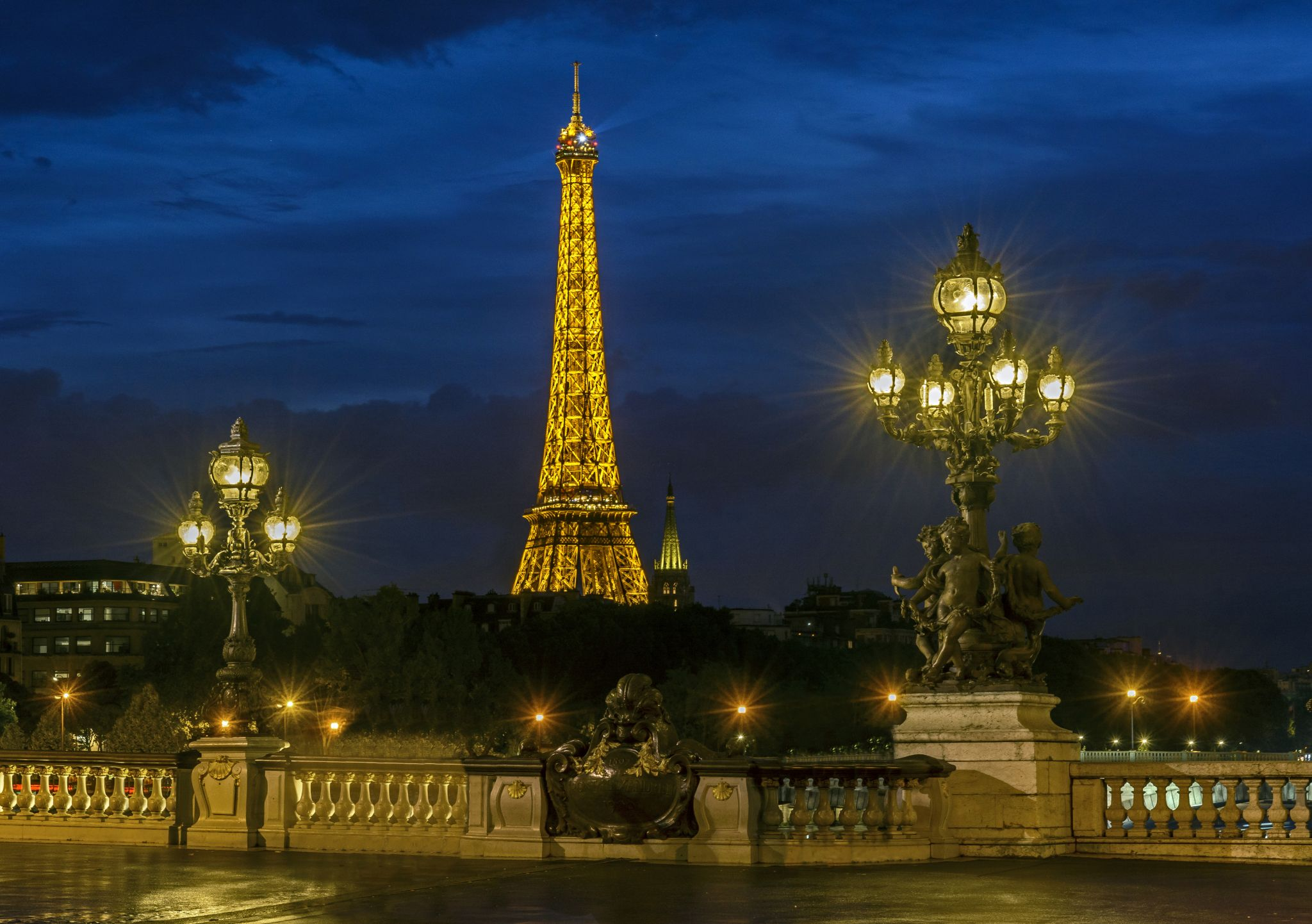 Pont Alexandre III, the Eiffel Tower and Les Invalides, France