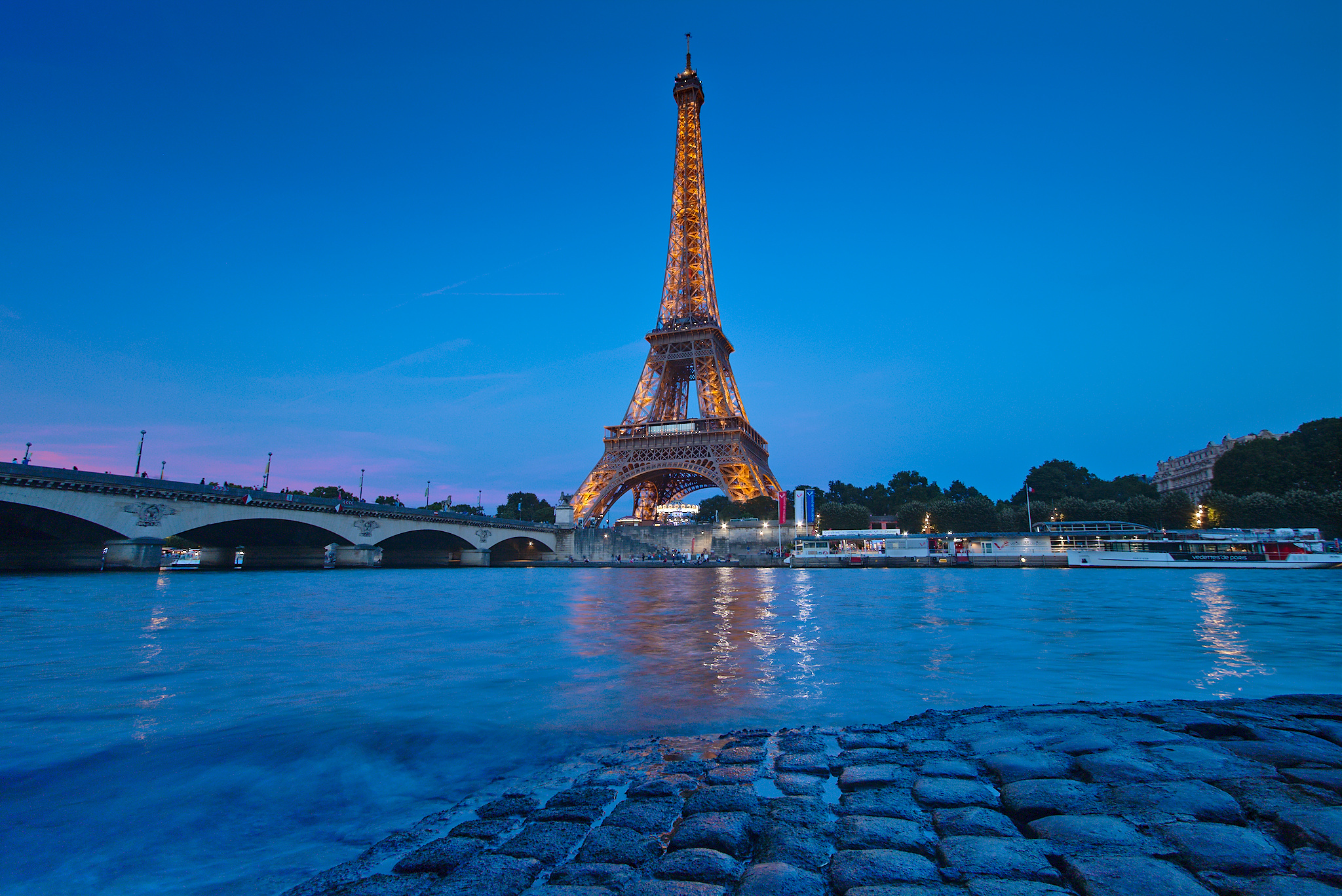 Eiffel tower seen from Port Debilly, Paris, France