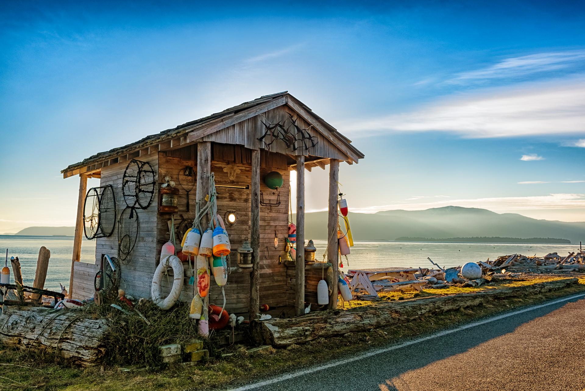Fishing shed, Legoe Bay, USA