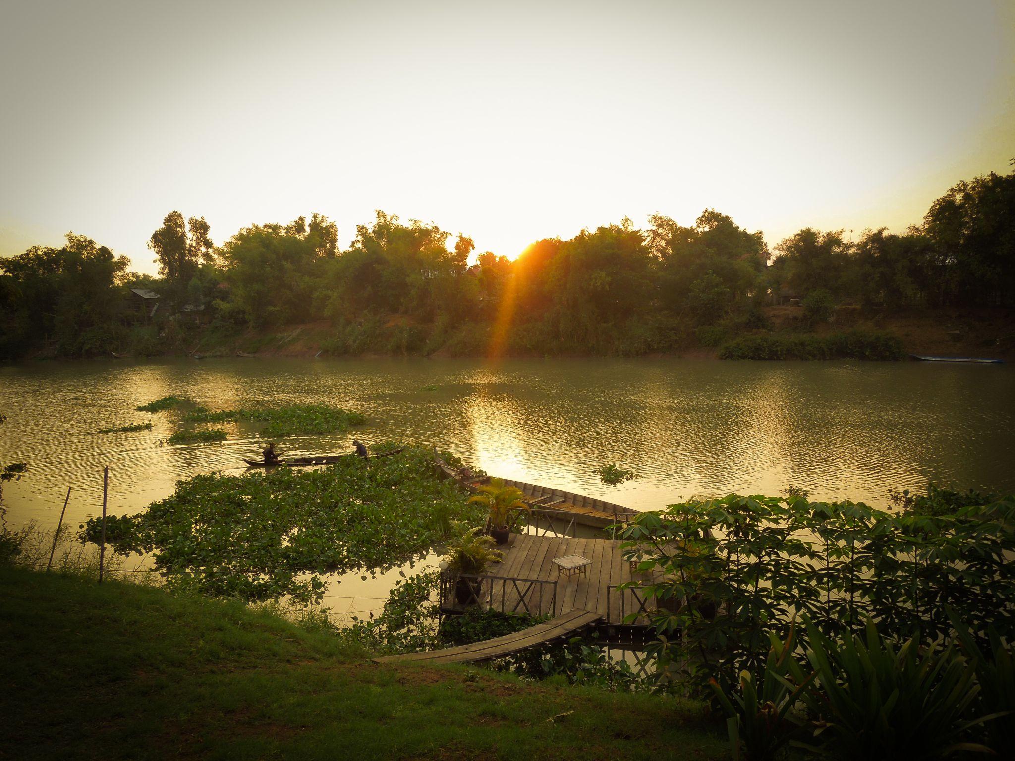Sunrise over Mekong branch, Cambodia