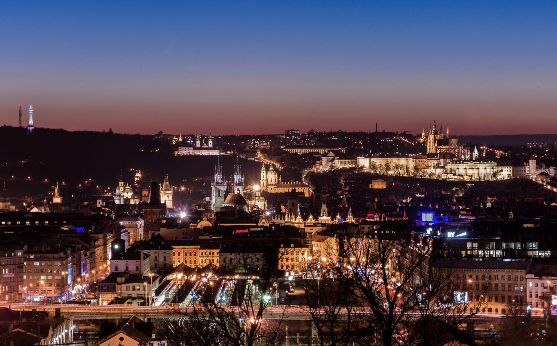 The Prague Castle seen from the Vitkov Hill, Czech Republic