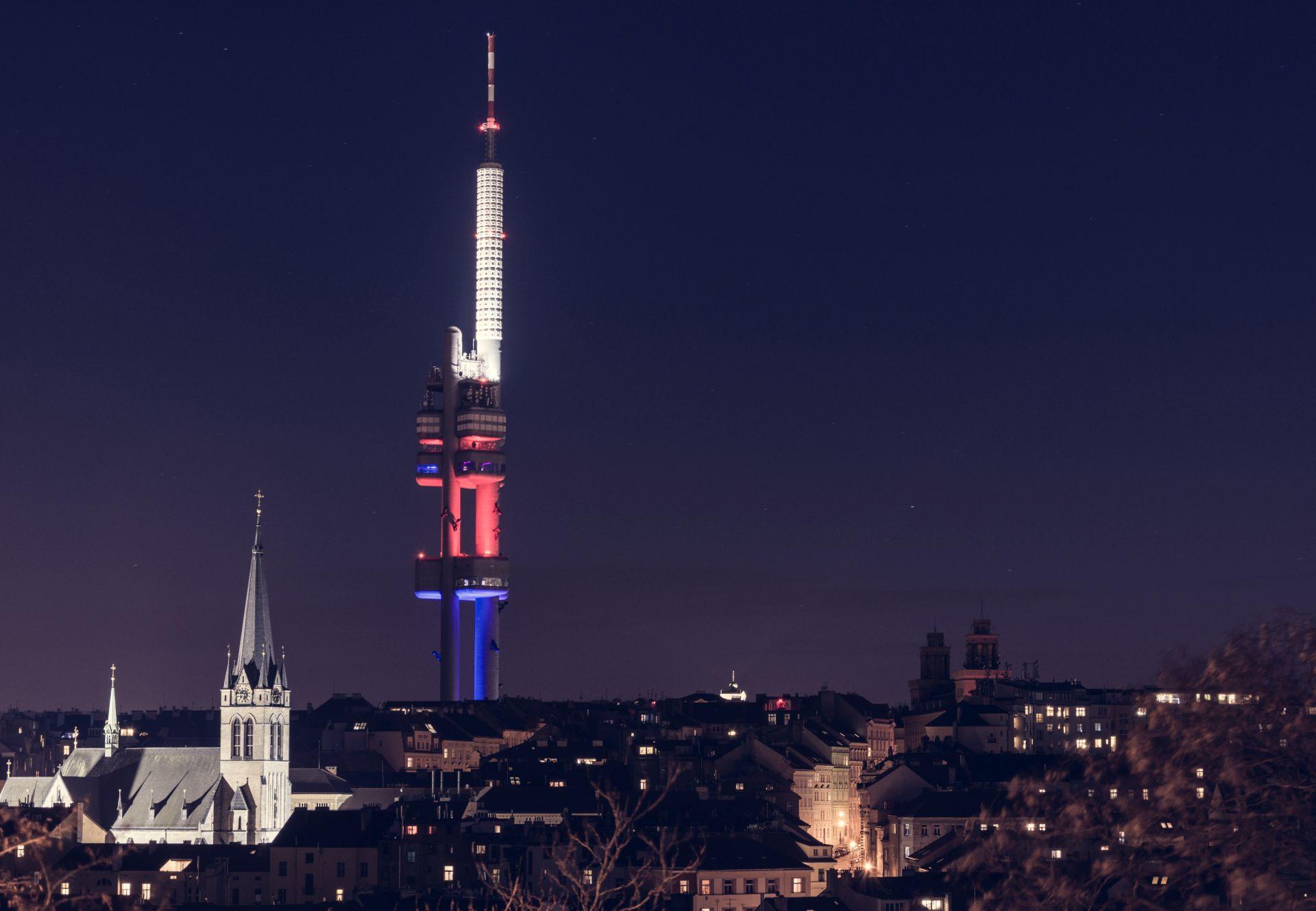 The Žižkov TV Tower in Prague seen from the Vitkov Hill, Czech Republic