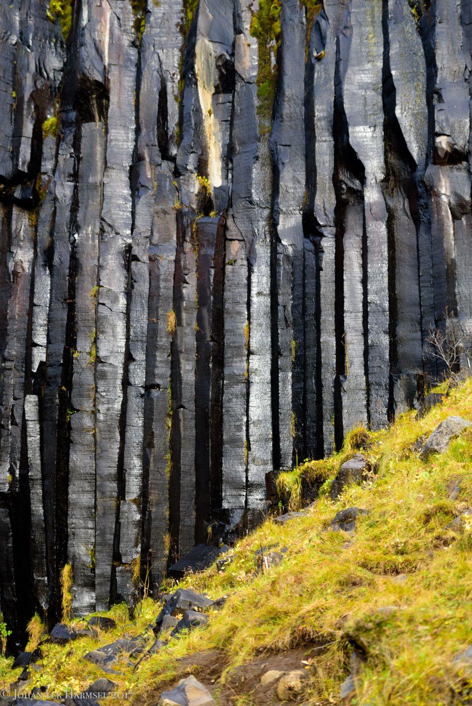 Lava rock pillars at Svartifoss, Iceland