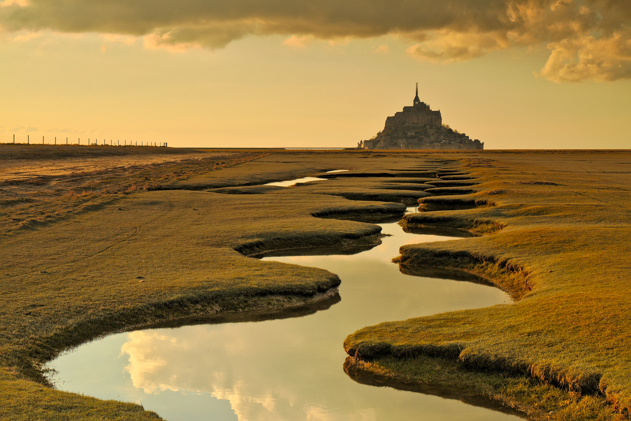Mont Saint-Michel river, France