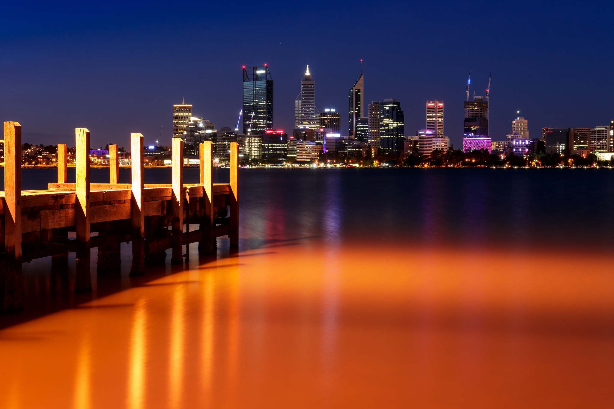 Perth City from the Coode Street Jetty, Australia