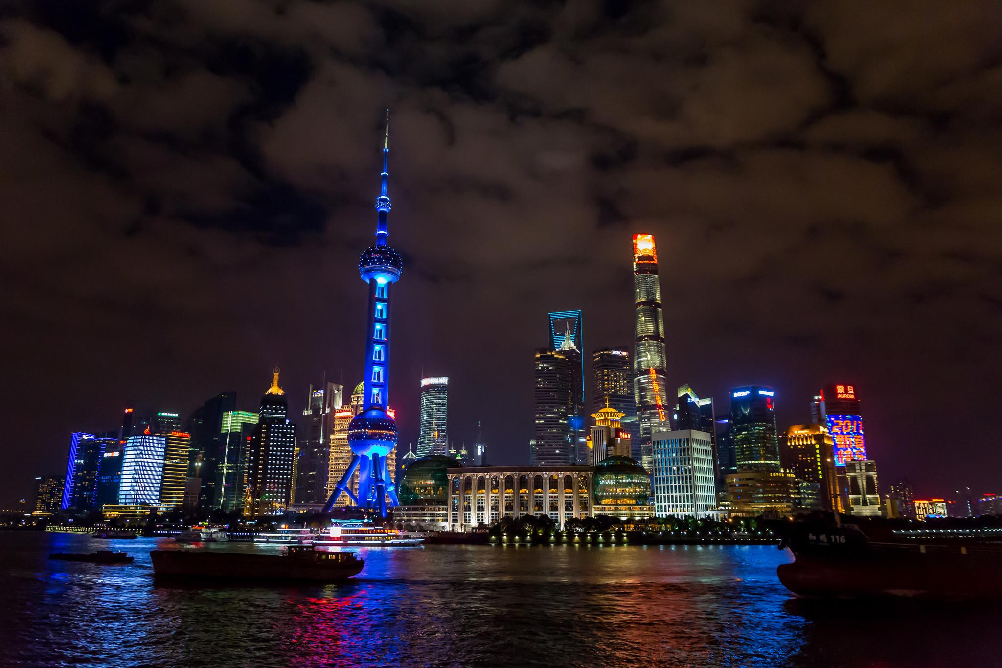 Shanghai's Pudong Skyline from Huangpu River, China