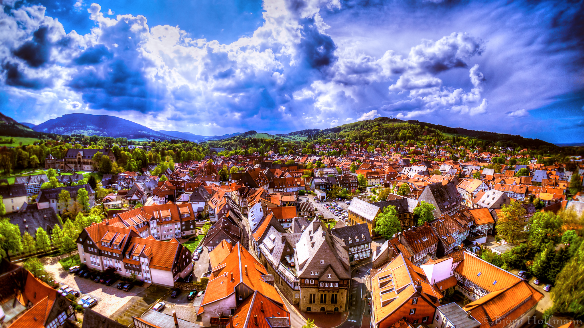 Church Tower aerial view onto Goslar Old Town, Germany