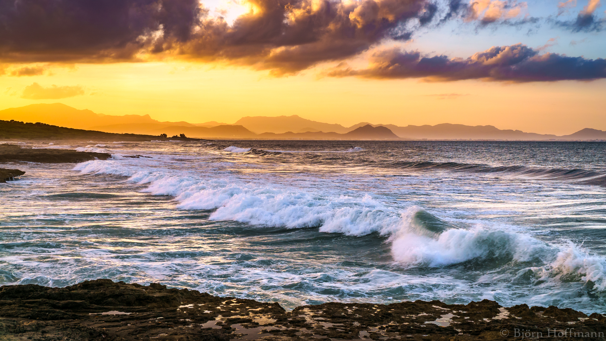 Mallorca, Son Serra Beach with Mountain View, Spain