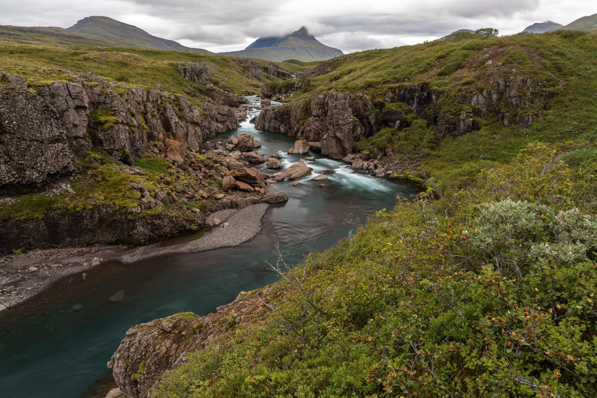 Tinnudalsá river near Breiðdalsvík, East Iceland, Iceland