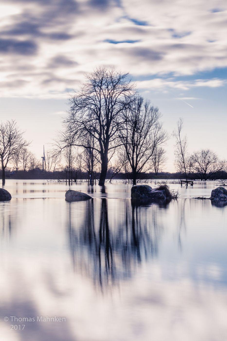 Flooded river Weser near Achim, Germany