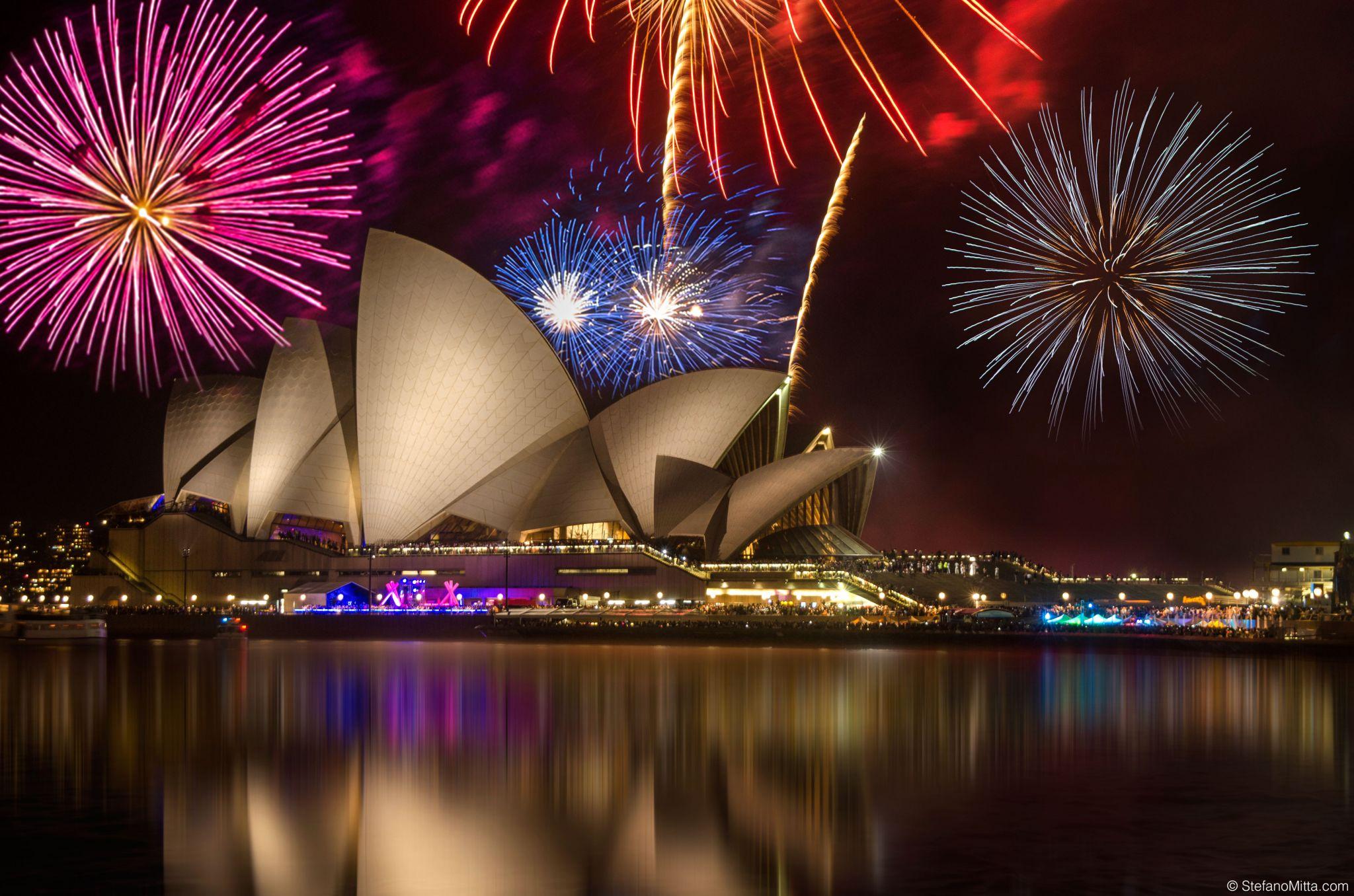 New Years Eve Fireworks On An Iconic Circular Quay, Australia