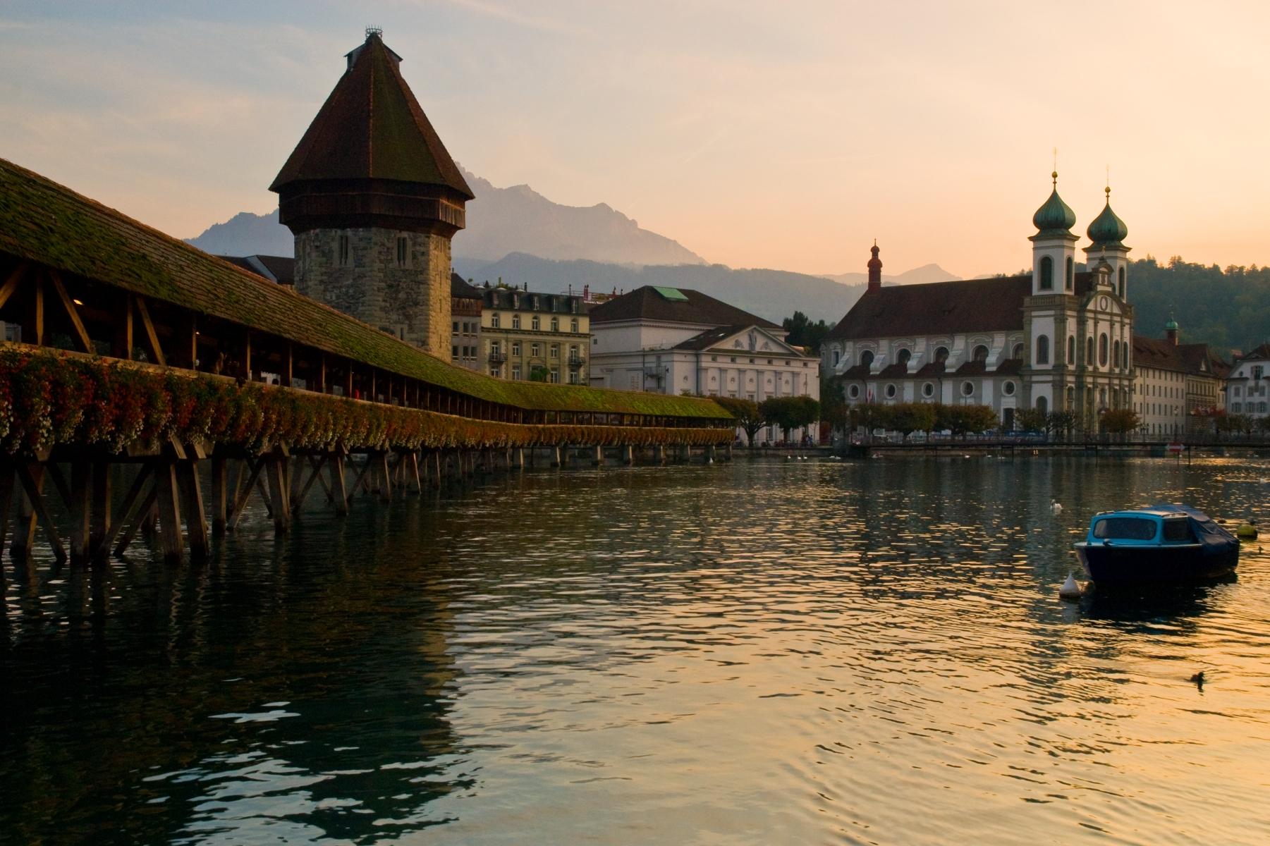 Chapel Bridge and Jesuit Church, Switzerland