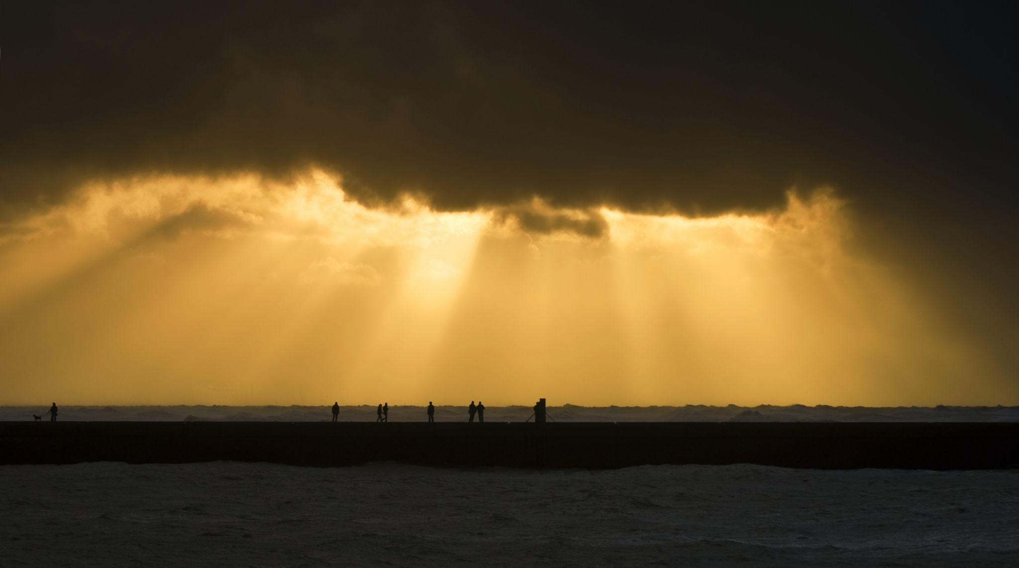Scheveningen beach with view on the harbour, Netherlands