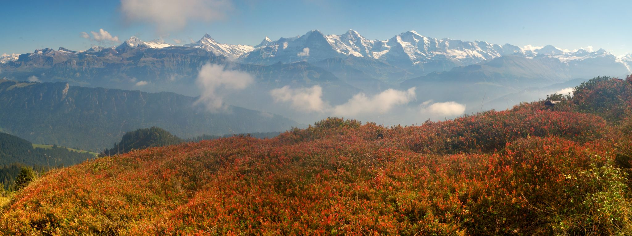 The 3 big mountains seen from Güggisgrat, Switzerland