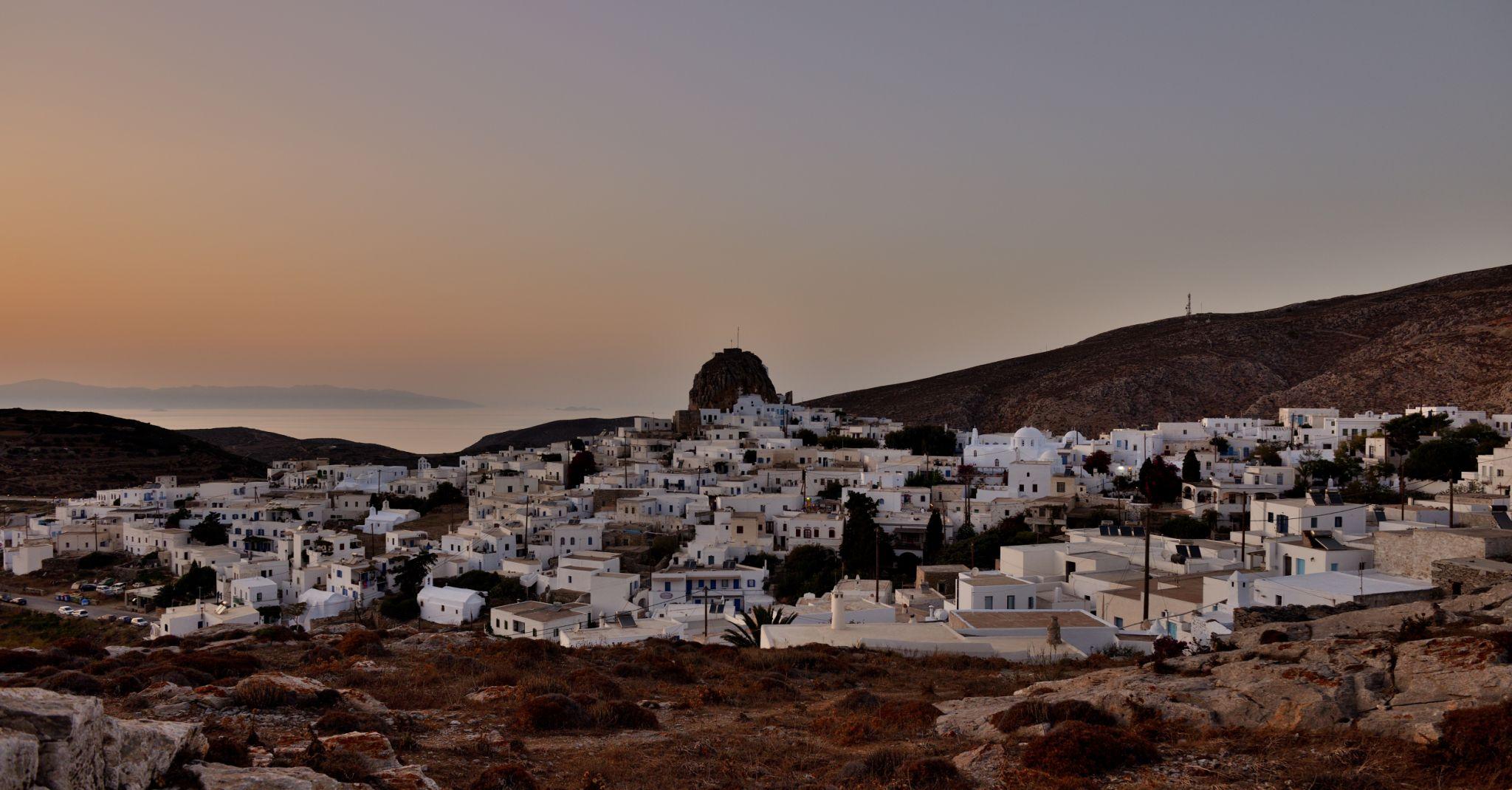 Amorgos town (chora) at sunset, Greece
